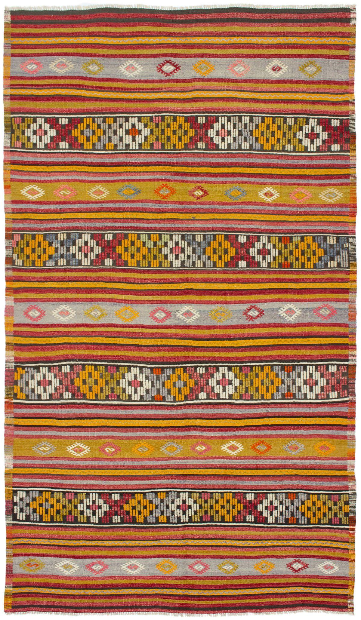 "Hand woven Kashkoli FW Light Orange, Red Wool Kilim 5'11"" x 10'5"" Size: 5'11"" x 10'5"""