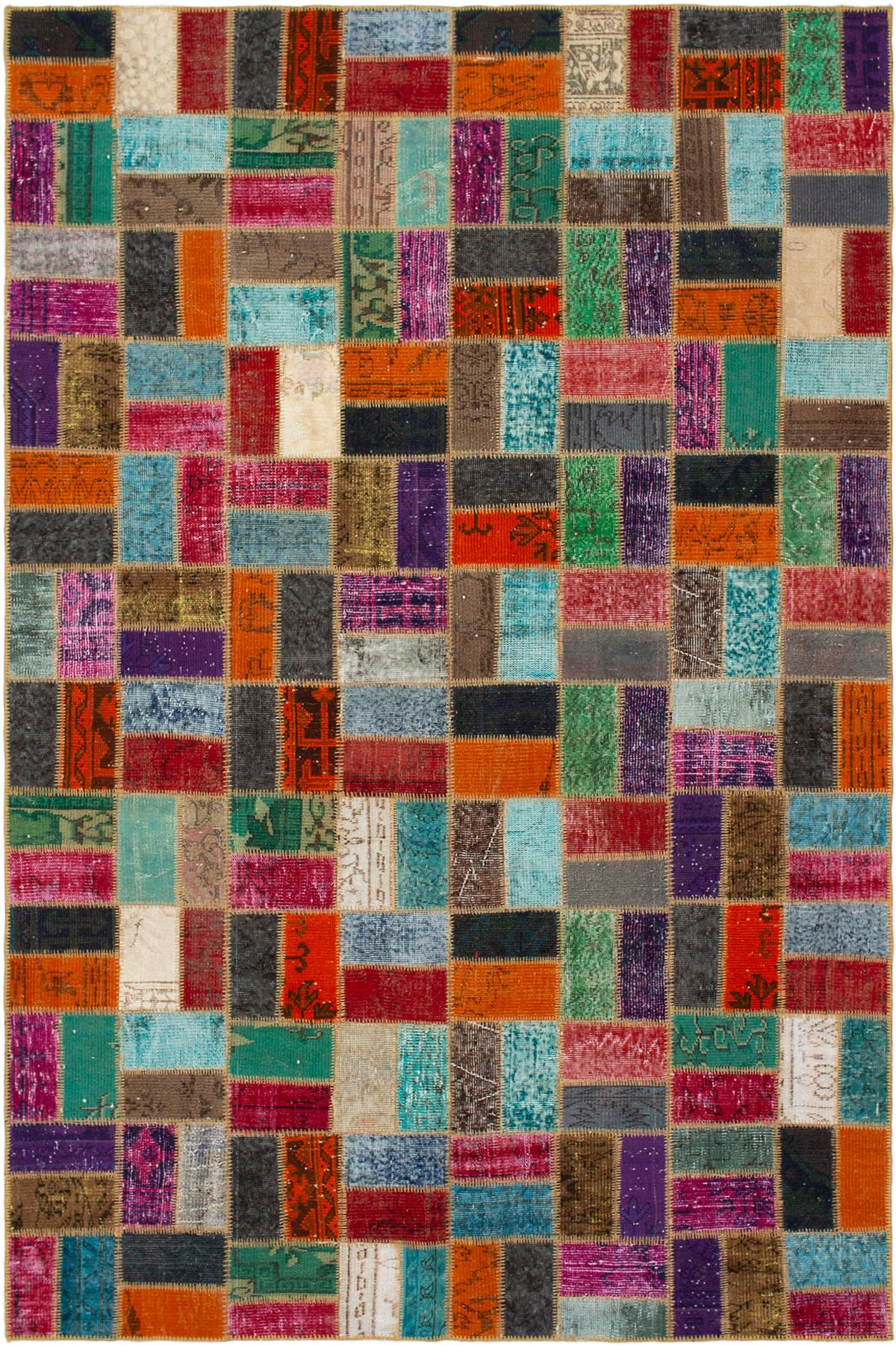 """Hand-knotted Color Transition Patch Brown, Orange Wool Rug 6'10"""" x 10'3"""" Size: 6'10"""" x 10'3"""""""