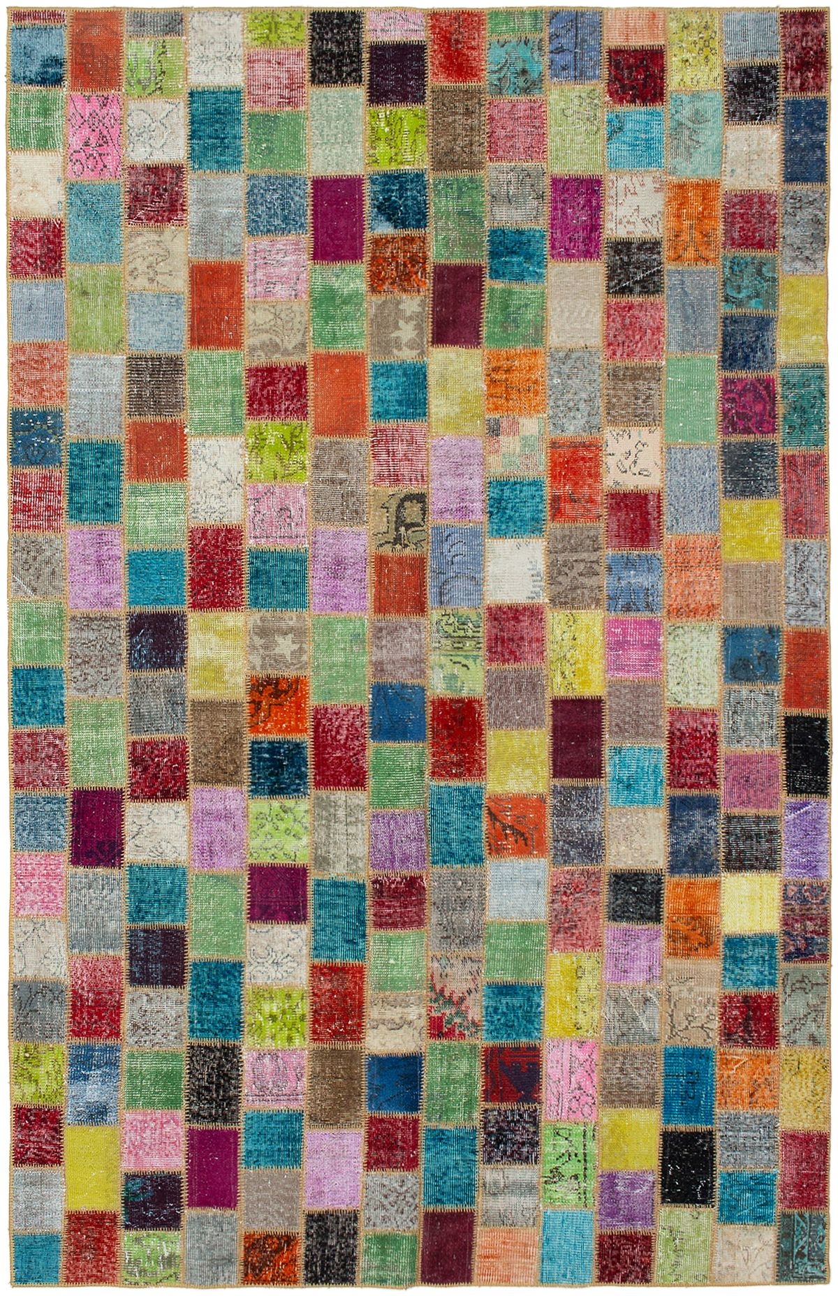 """Hand-knotted Color Transition Patch Light Green, Orange Wool Rug 6'9"""" x 10'5"""" Size: 6'9"""" x 10'5"""""""