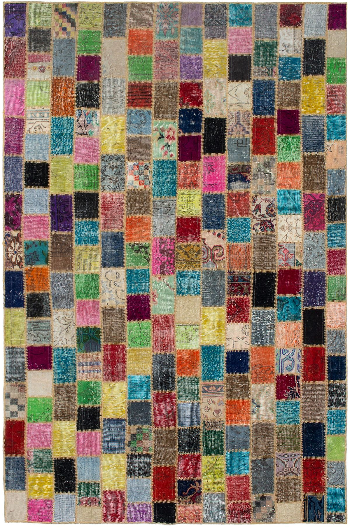 """Hand-knotted Color Transition Patch Dark Red, Orange Wool Rug 6'4"""" x 9'10"""" Size: 6'4"""" x 9'10"""""""