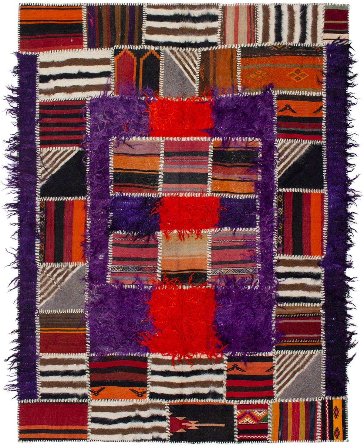 "Hand woven Moldovia Patch Orange, Purple Wool Kilim 6'6"" x 8'10"" Size: 6'6"" x 8'10"""