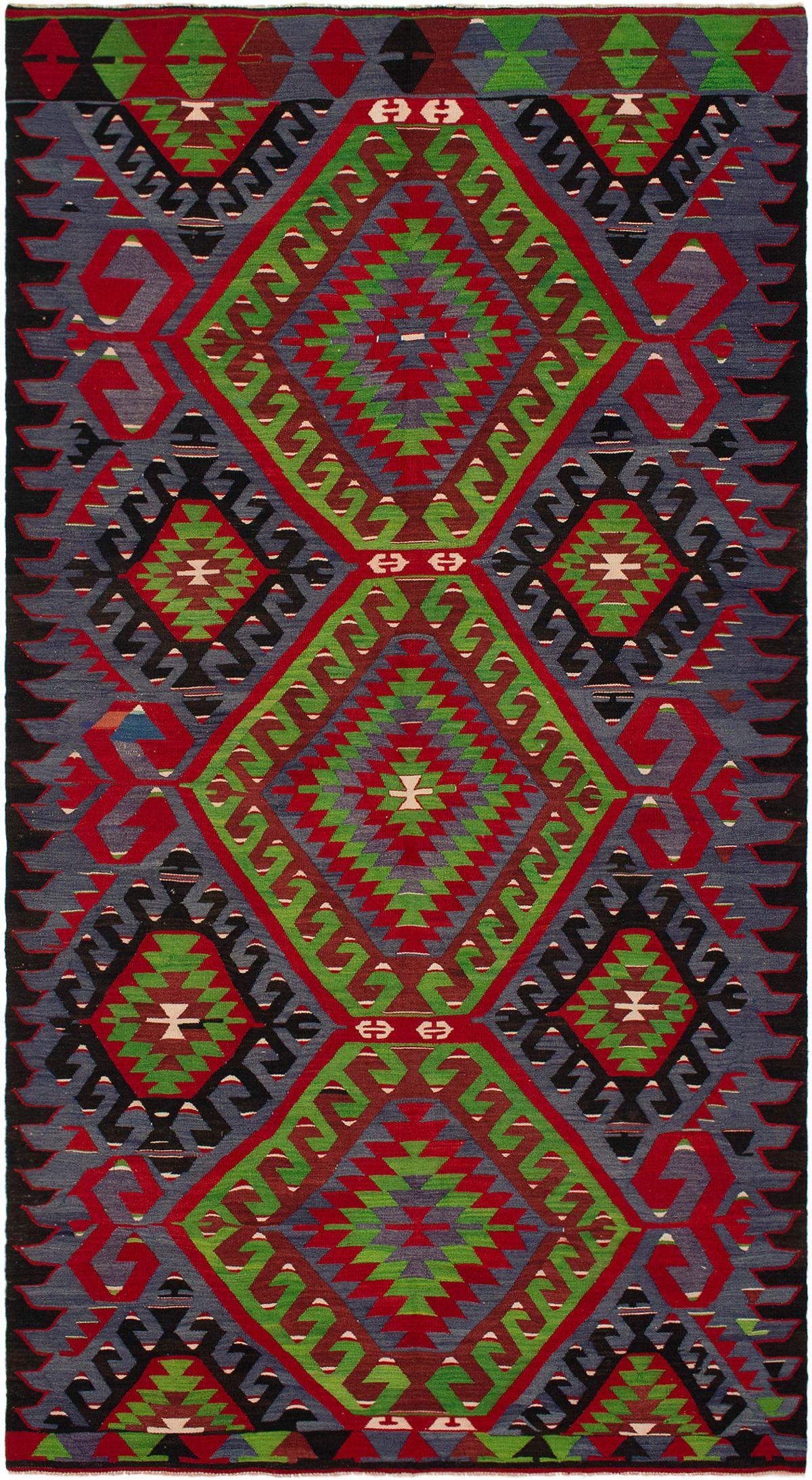 "Hand woven Sivas Red, Slate Blue Wool Kilim 5'7"" x 10'6"" Size: 5'7"" x 10'6"""