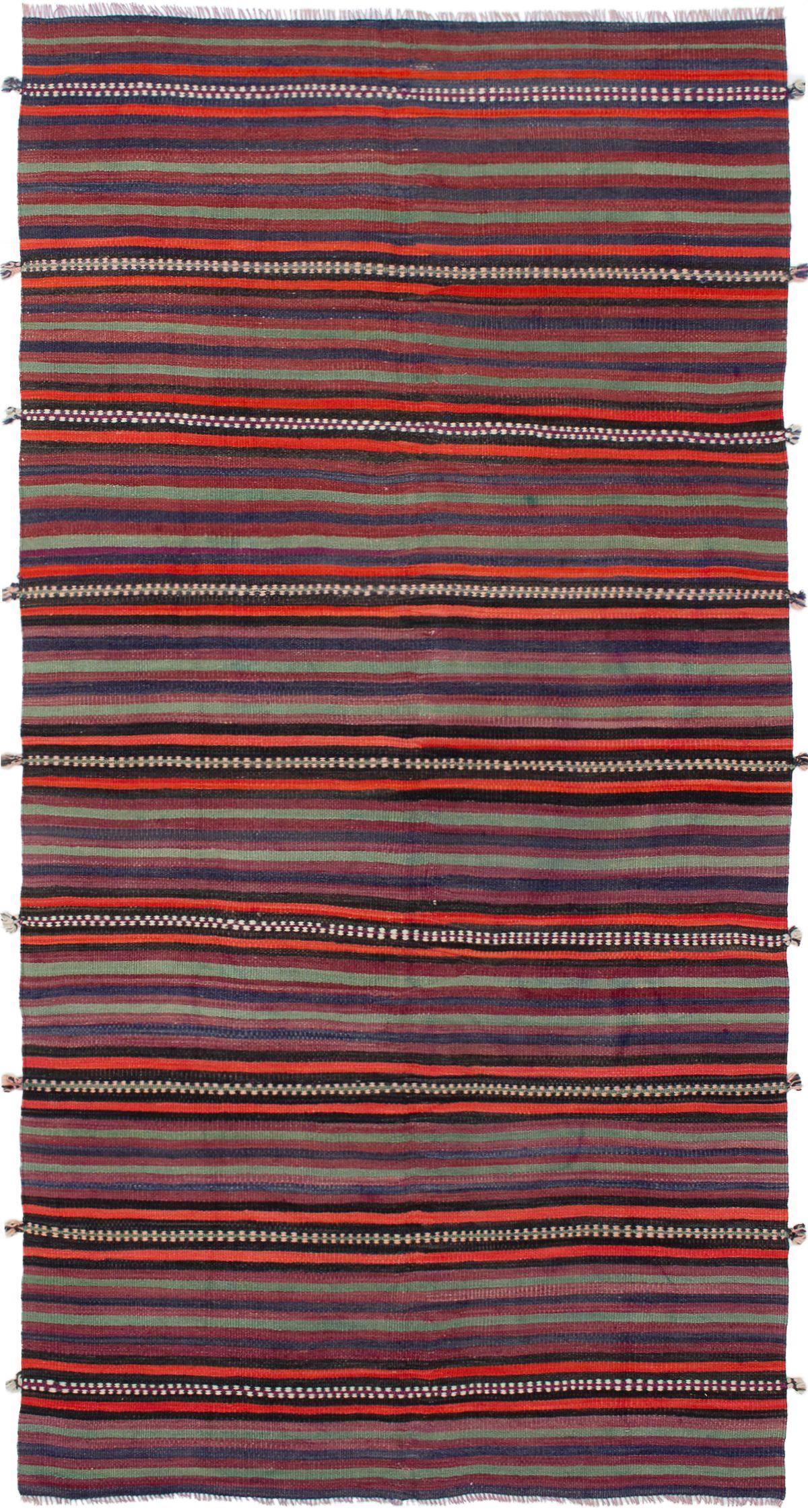 "Hand woven Bohemian Red Wool Kilim 4'11"" x 9'10"" Size: 4'11"" x 9'10"""