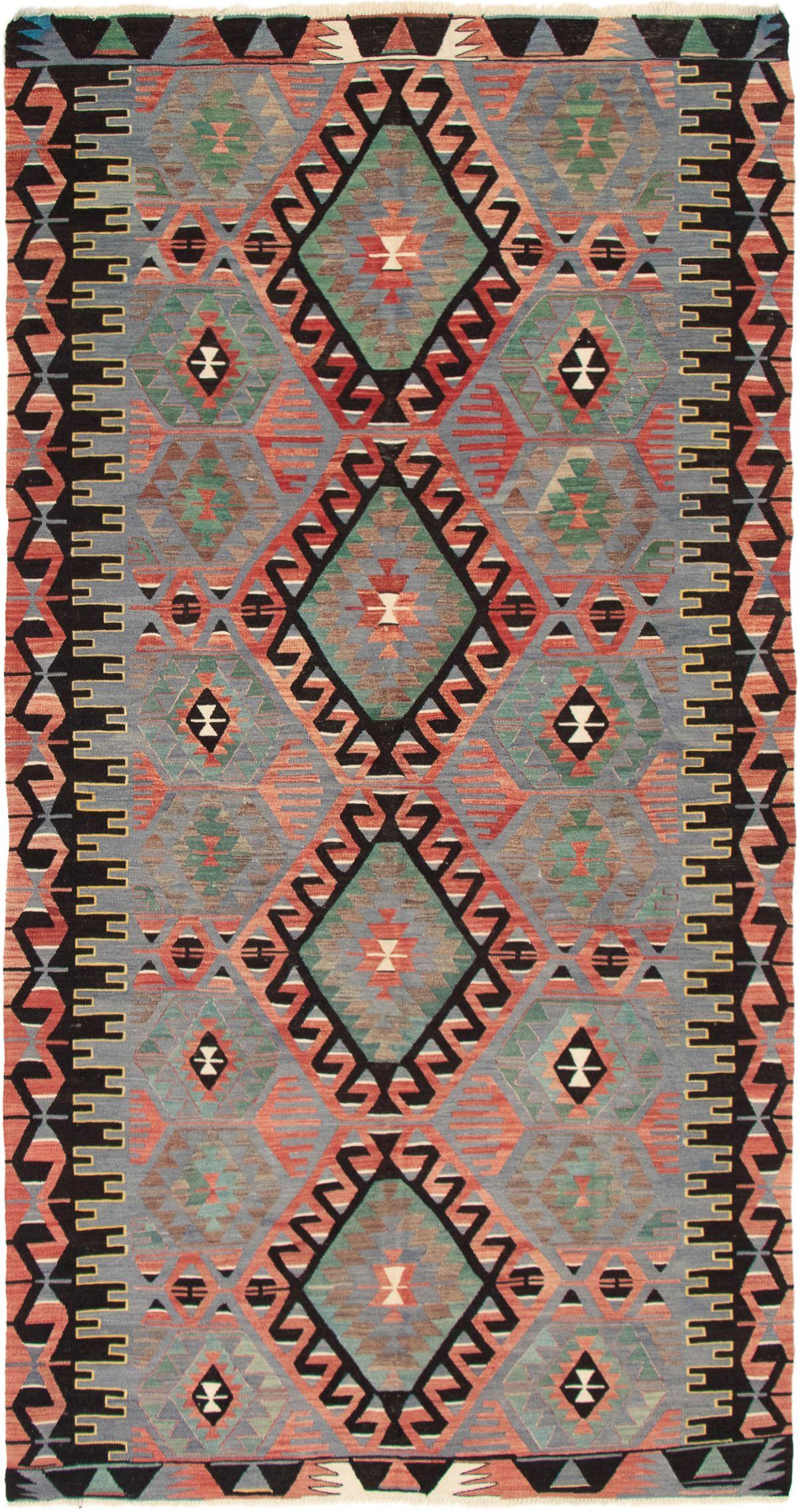 "Hand woven Yoruk Red, Slate Blue Wool Kilim 5'3"" x 10'3"" Size: 5'3"" x 10'3"""