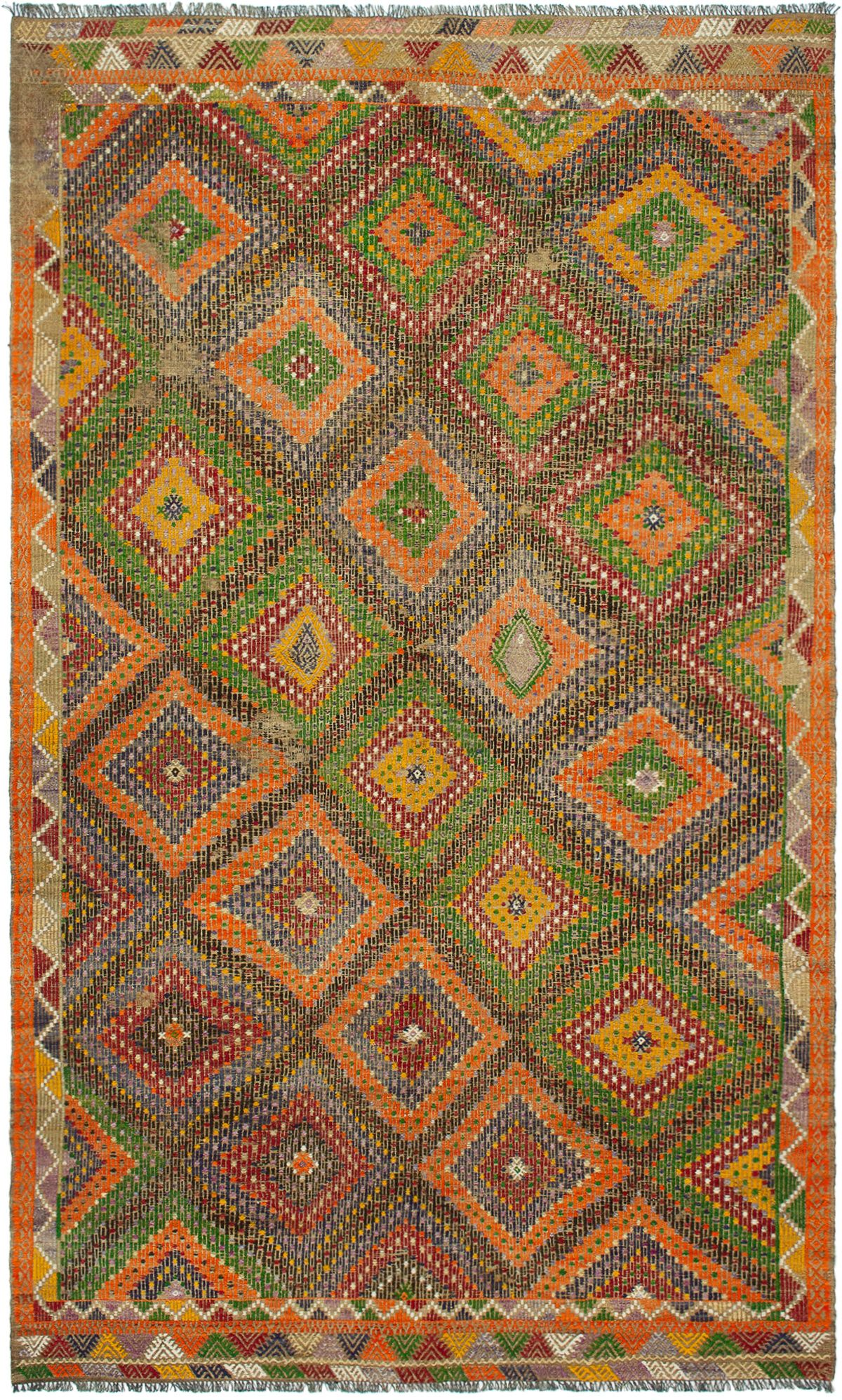 "Hand woven Yoruk Green, Orange Wool Tapestry Kilim 5'3"" x 9'1"" Size: 5'3"" x 9'1"""