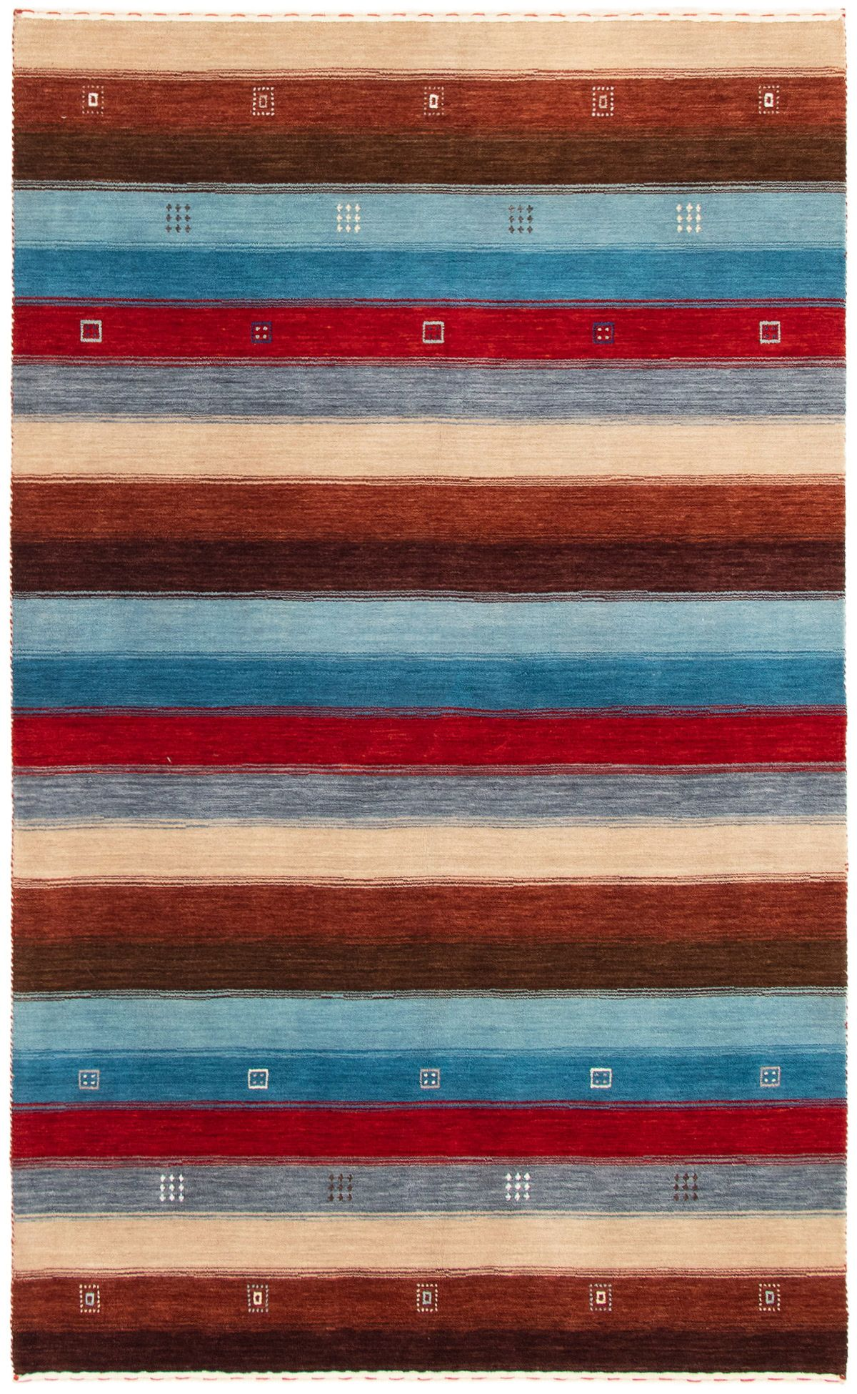 """Hand-knotted Kashkuli Gabbeh Red, Sky Blue Wool Rug 4'10"""" x 8'0"""" Size: 4'10"""" x 8'0"""""""