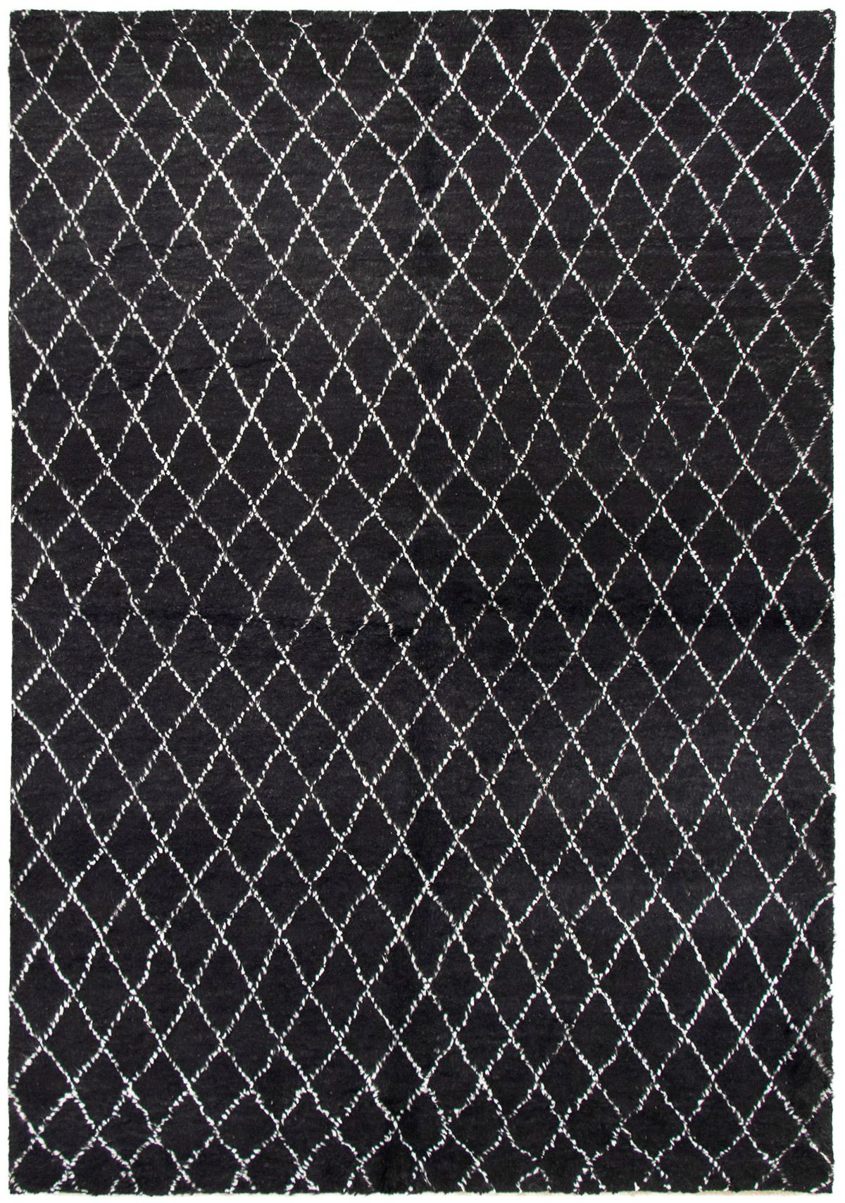 """Hand-knotted Arlequin Black Wool Rug 6'4"""" x 9'1"""" Size: 6'4"""" x 9'1"""""""