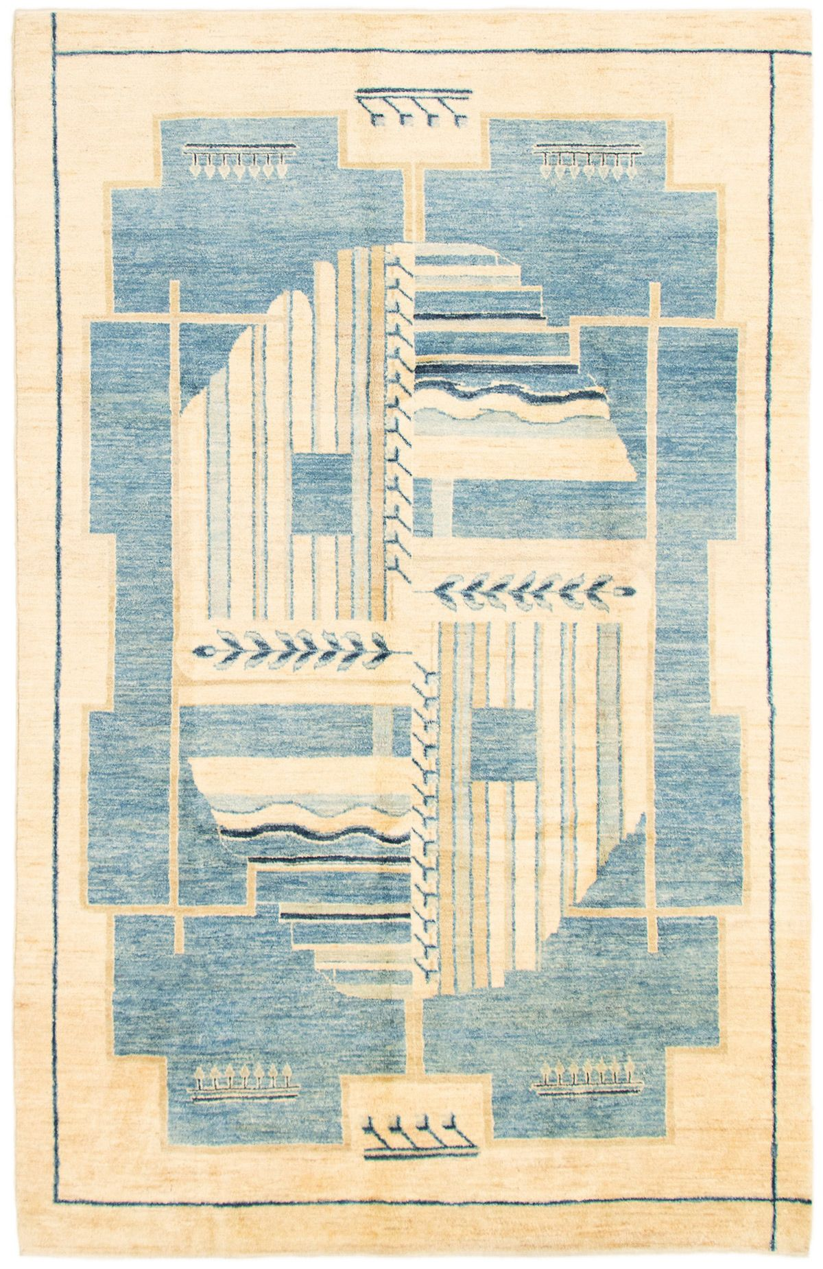 "Hand-knotted Finest Ziegler Chobi Blue, Cream Wool Rug 6'0"" x 9'3"" Size: 6'0"" x 9'3"""