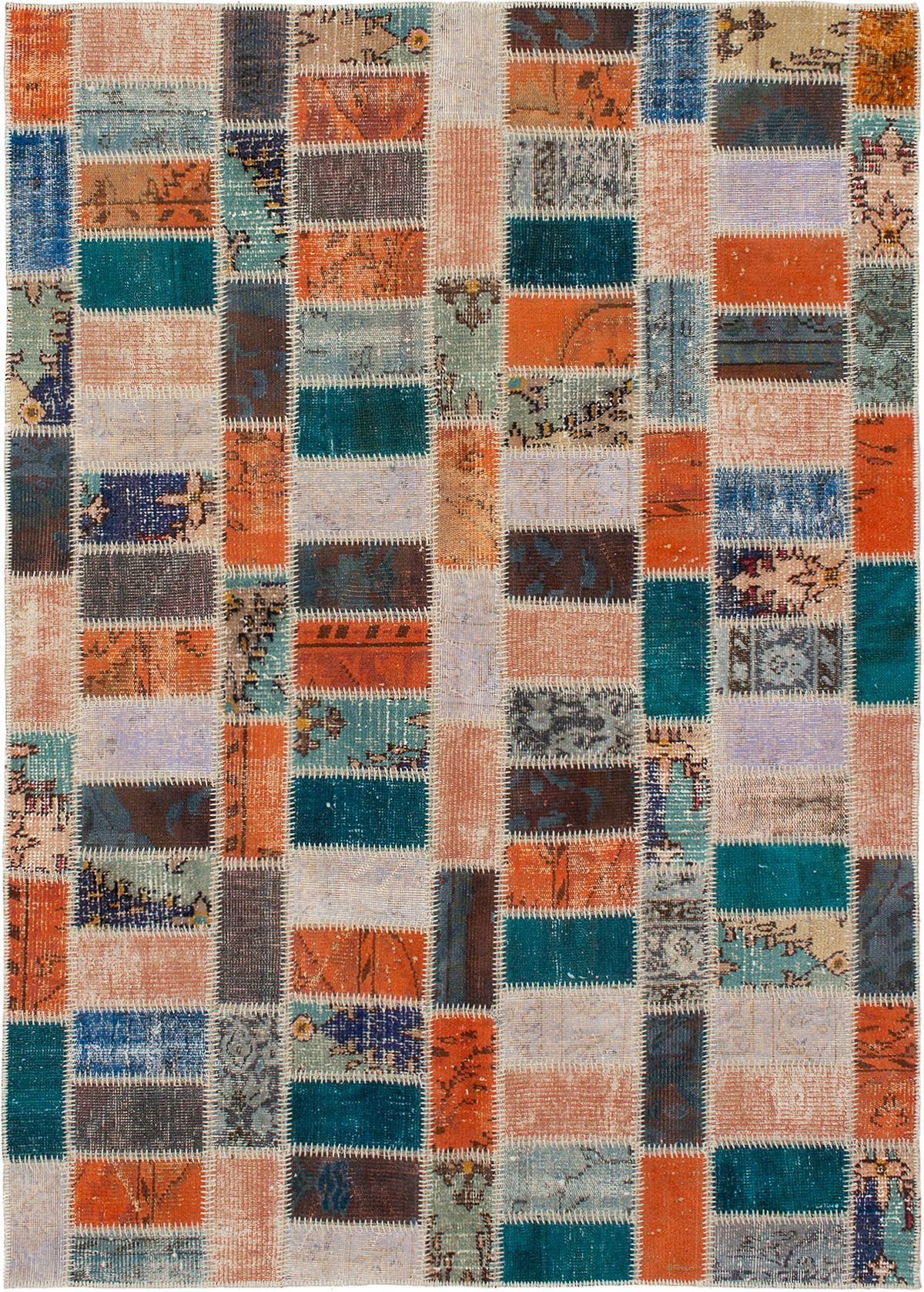 """Hand-knotted Color Transition Patch Orange, Teal Wool Rug 5'7"""" x 7'11"""" Size: 5'7"""" x 7'11"""""""