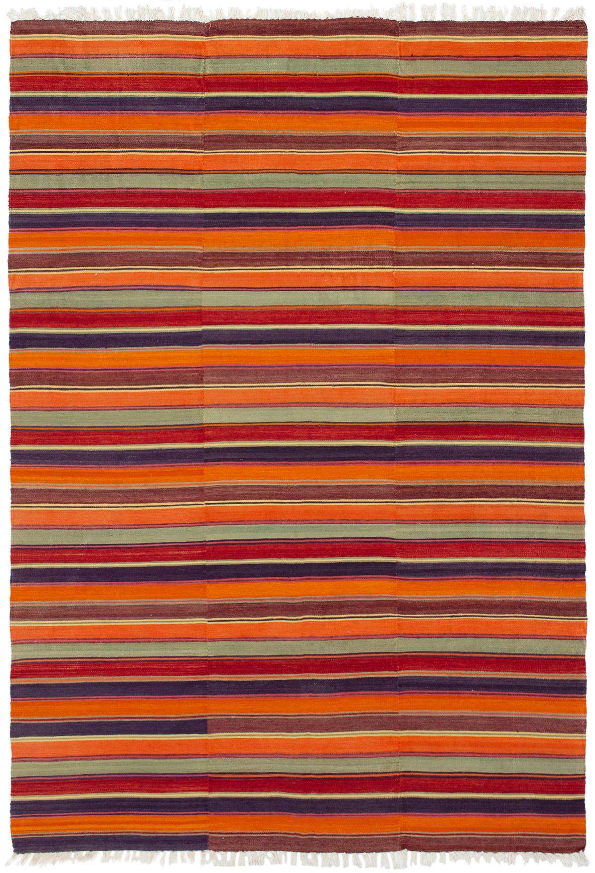 "Hand woven Bohemian Dark Red, Orange Wool Kilim 6'7"" x 9'6"" Size: 6'7"" x 9'6"""