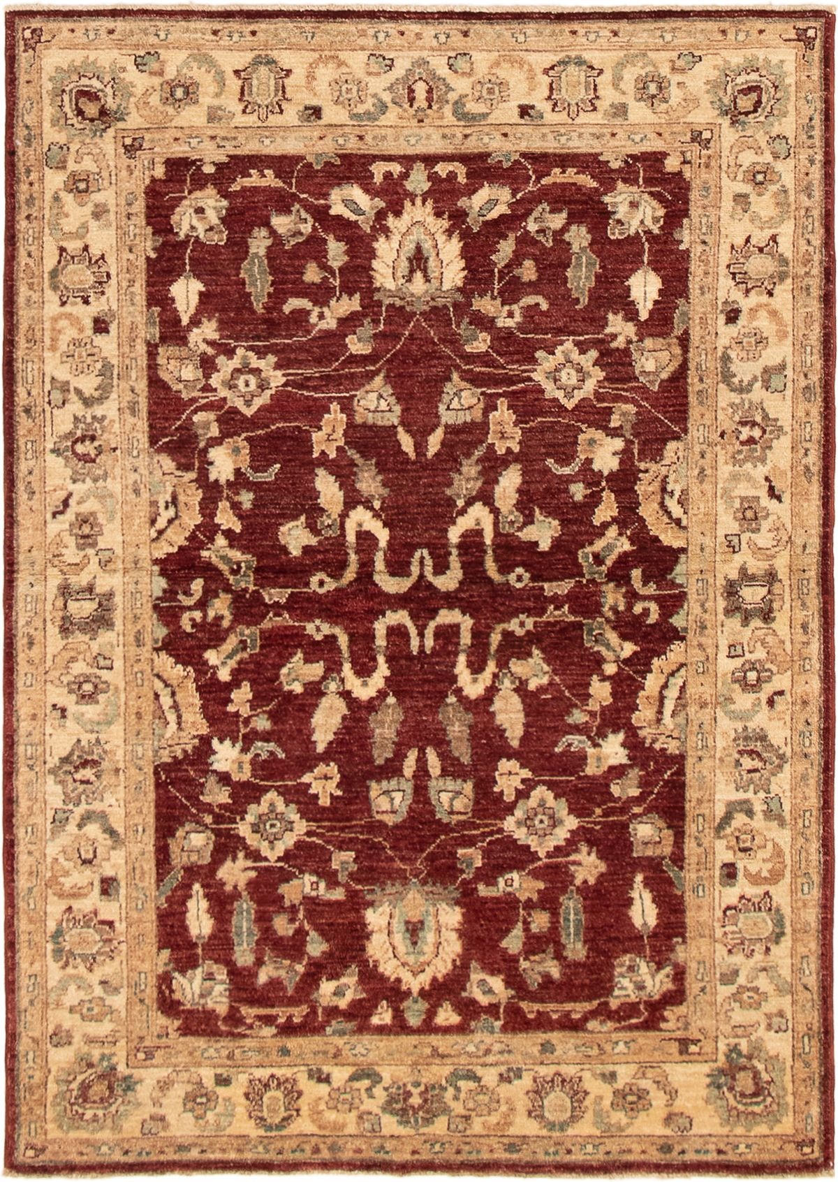"""Hand-knotted Chobi Finest Dark Red Wool Rug 4'2"""" x 5'10"""" Size: 4'2"""" x 5'10"""""""