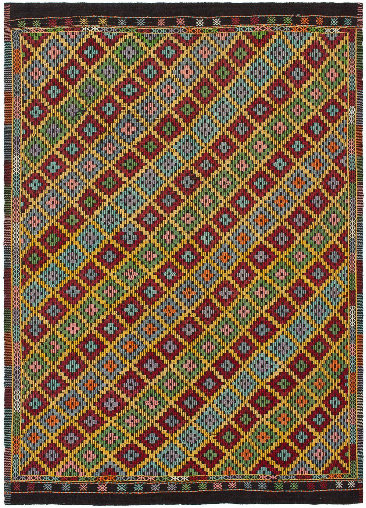 "Hand woven Yoruk Dark Red, Gold Wool Tapestry Kilim 6'9"" x 9'5"" Size: 6'9"" x 9'5"""
