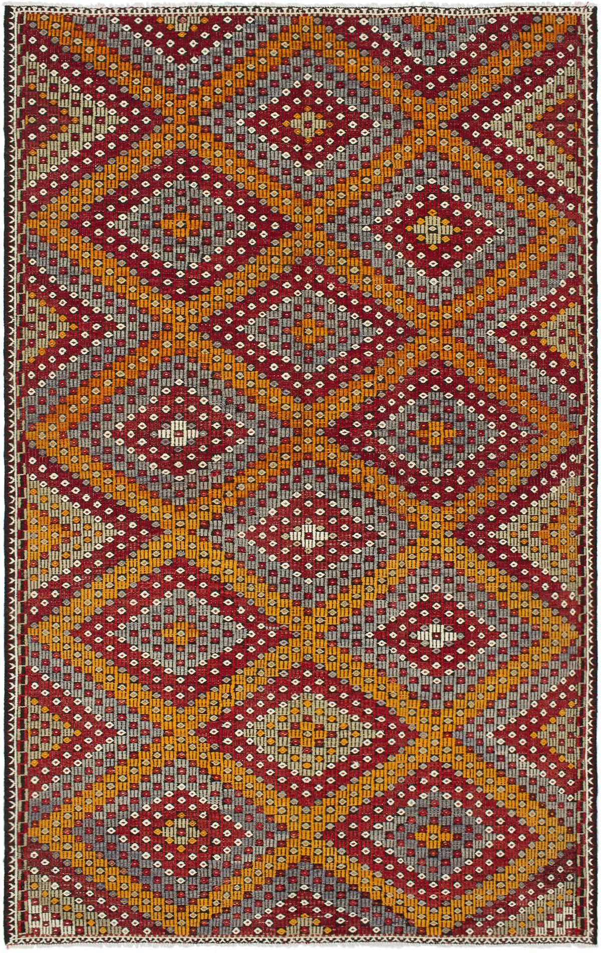 "Hand woven Yoruk Dark Red, Orange Wool Tapestry Kilim 6'4"" x 10'2"" Size: 6'4"" x 10'2"""
