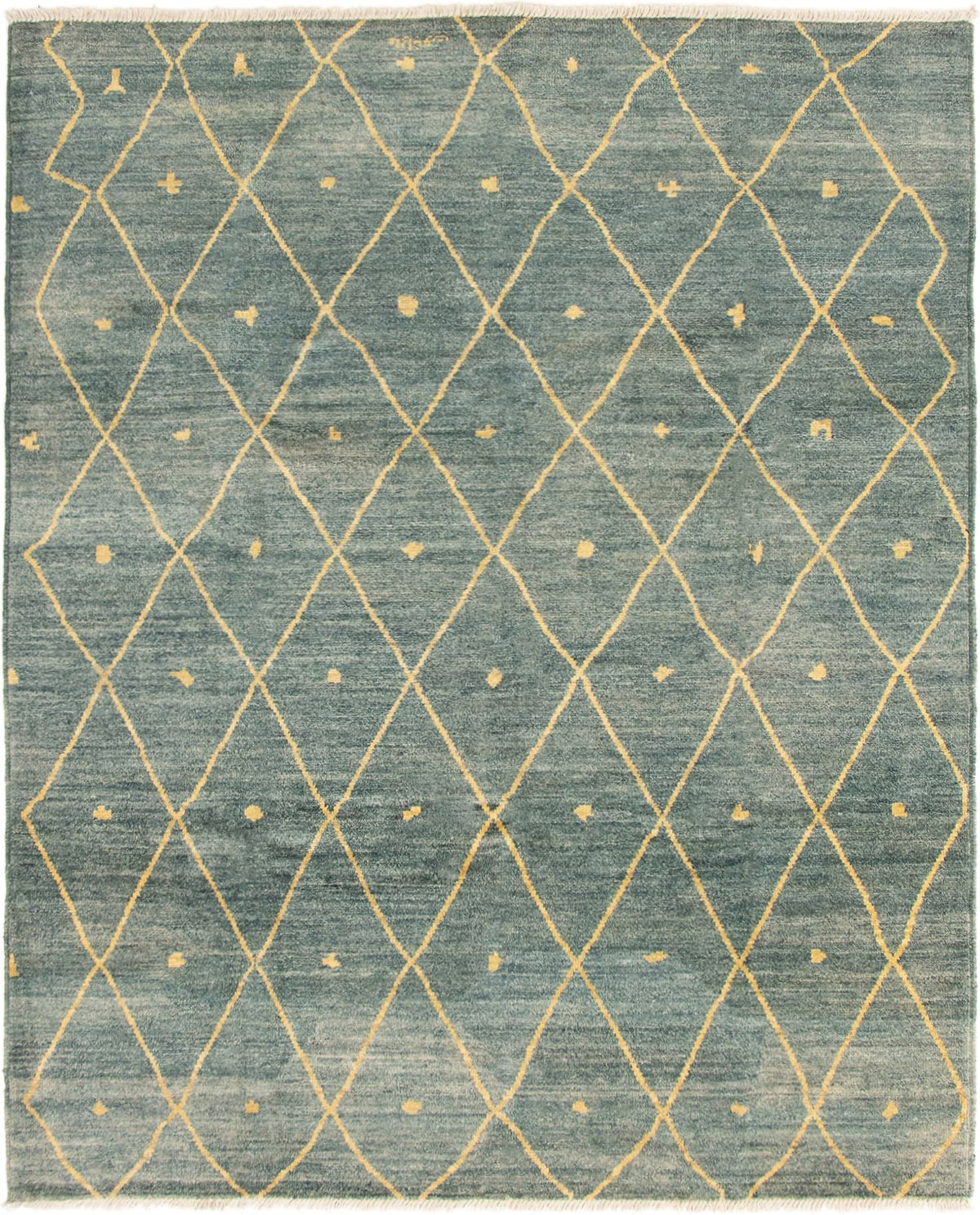 """Hand-knotted Tangier Dark Blue Wool Rug 7'10"""" x 9'8"""" Size: 7'10"""" x 9'8"""""""
