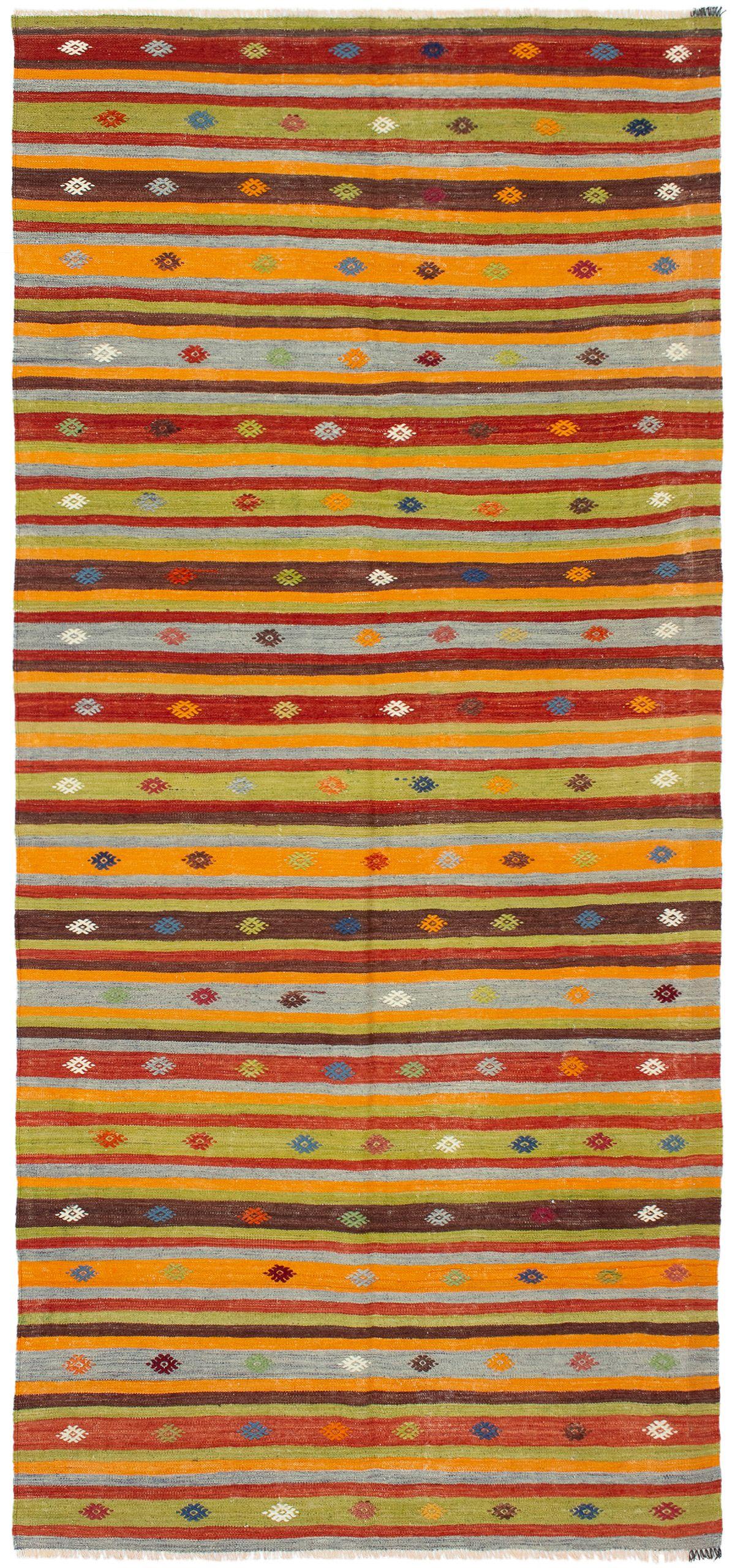 "Hand woven Bohemian Orange, Red Wool Kilim 4'9"" x 10'2"" Size: 4'9"" x 10'2"""