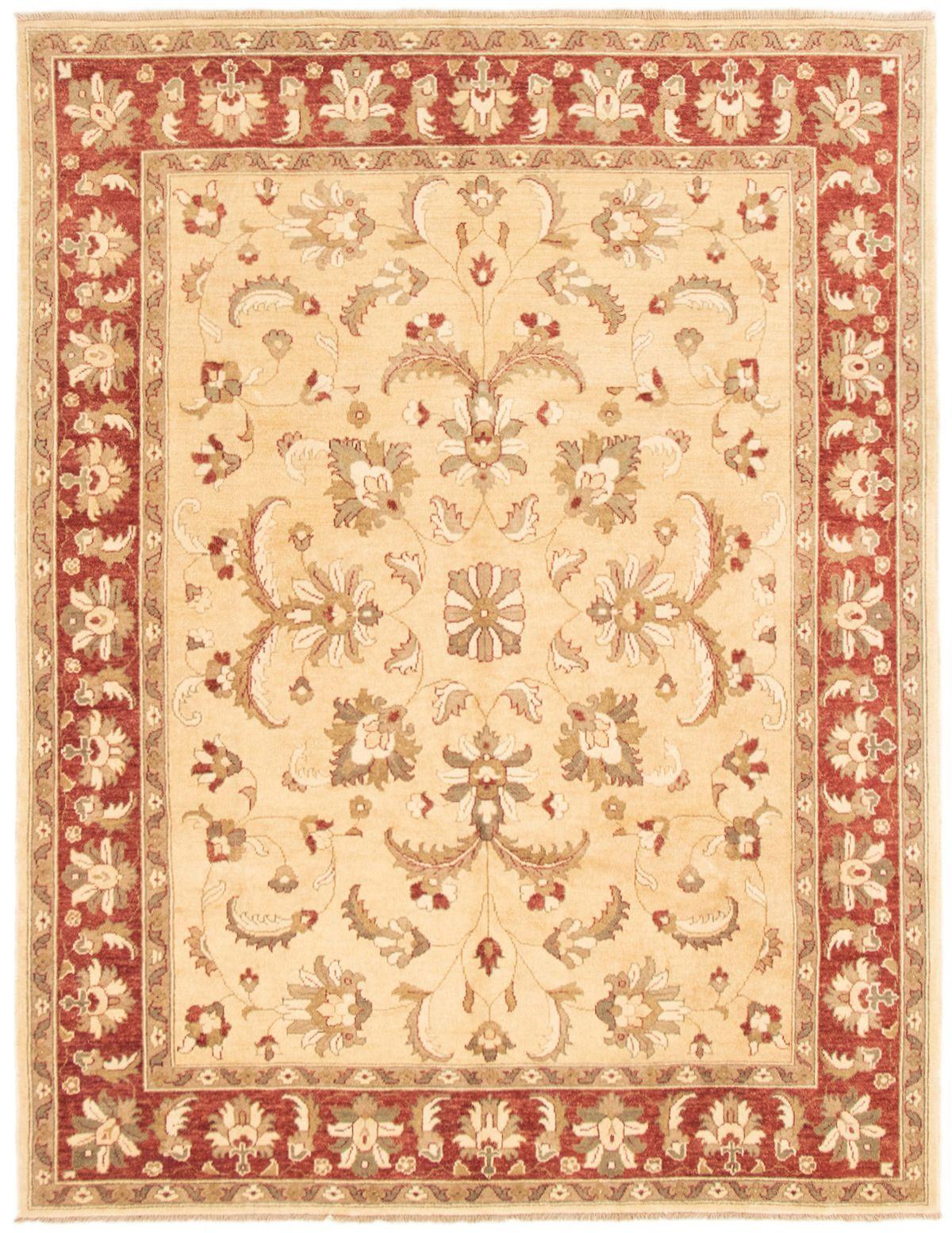 "Hand-knotted Peshawar Oushak Beige Wool Rug 6'9"" x 8'8"" Product Image"