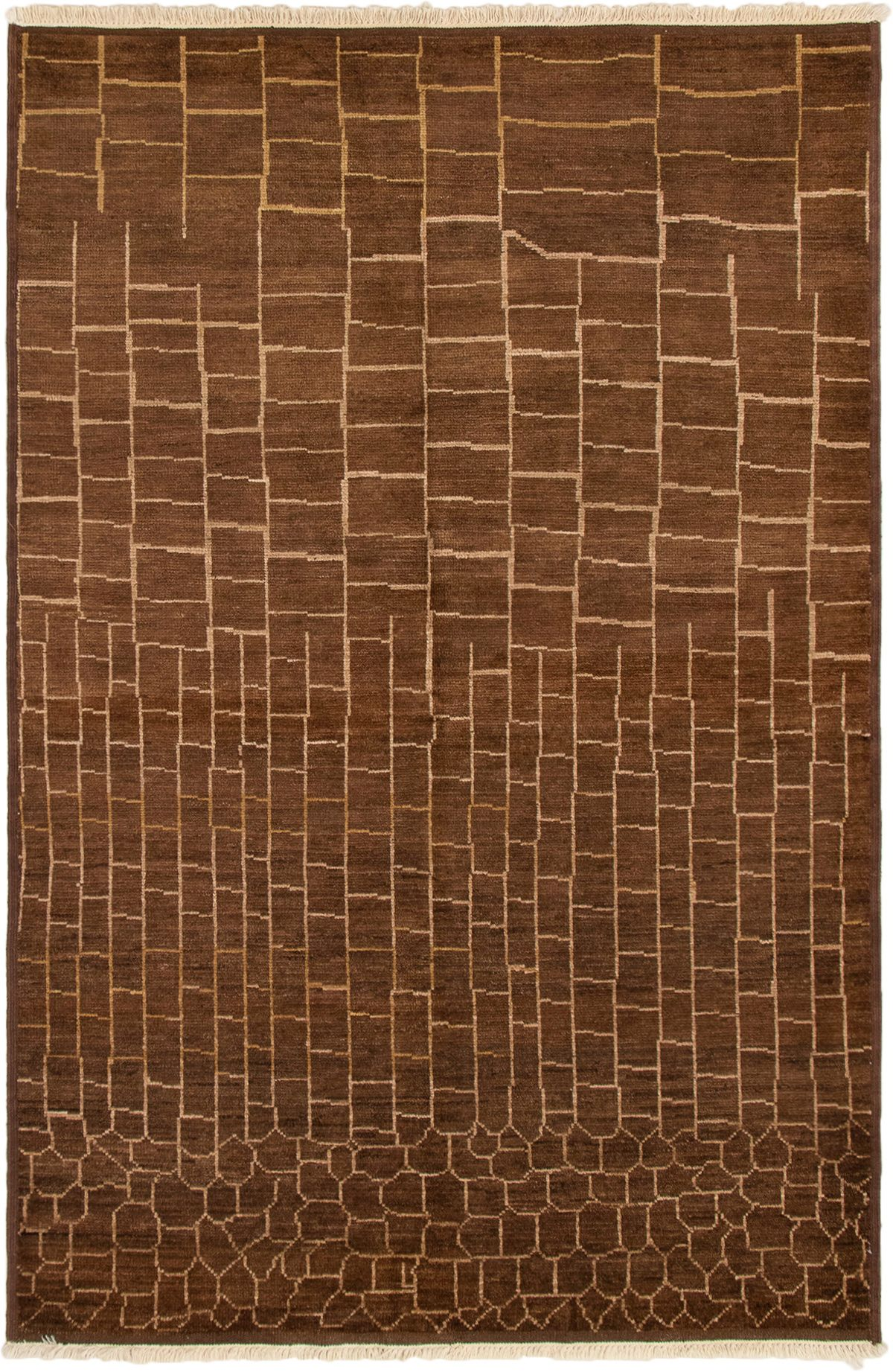 """Hand-knotted Tangier Brown Wool Rug 6'1"""" x 9'2"""" Size: 6'1"""" x 9'2"""""""