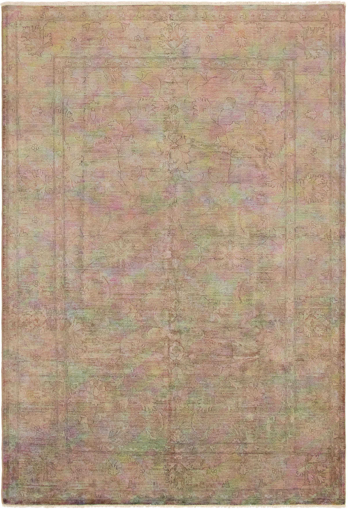 """Hand-knotted Color Transition Brown, Violet Wool Rug 6'10"""" x 9'9"""" Size: 6'10"""" x 9'9"""""""