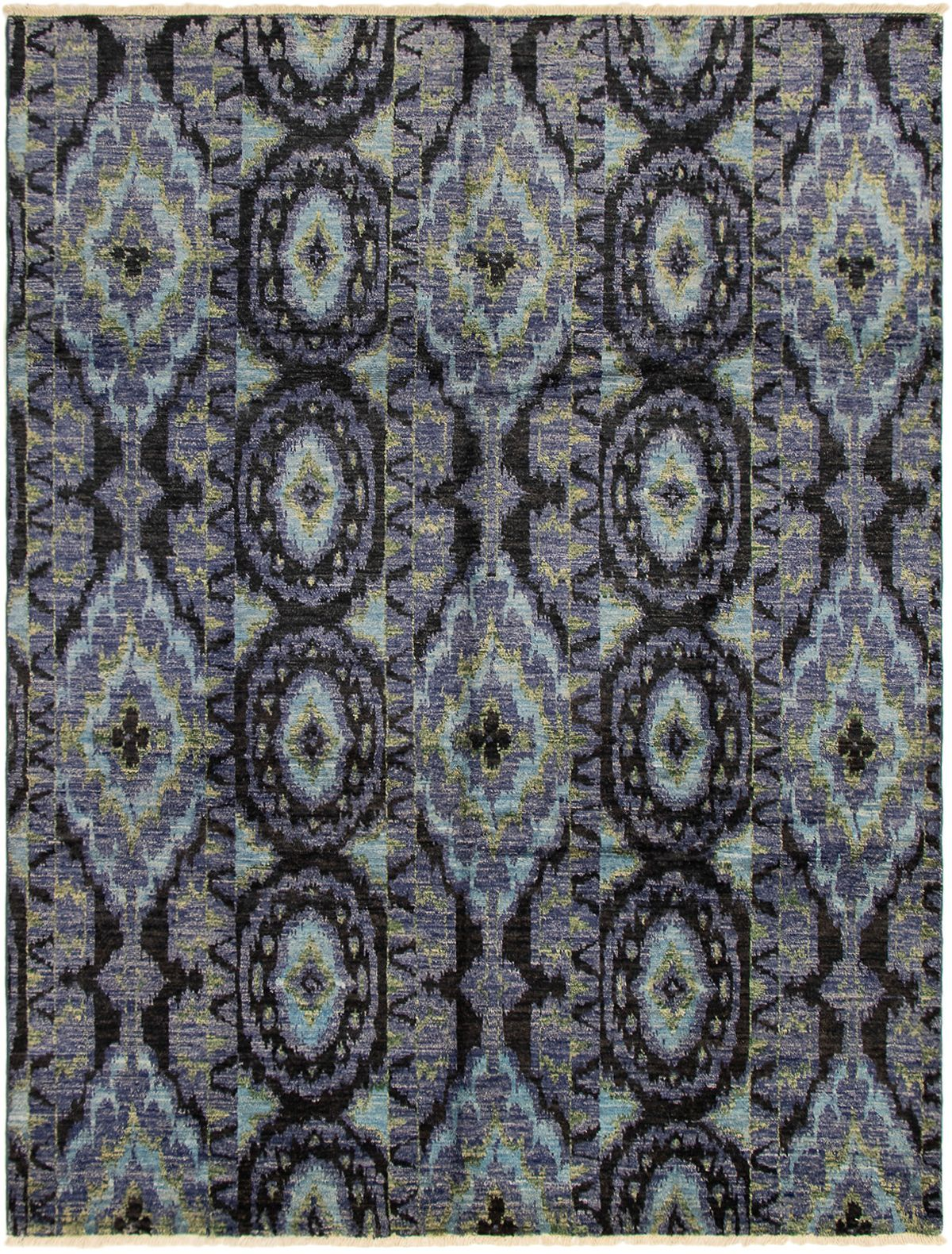"Hand-knotted Shalimar Black, Slate Blue Wool Rug 7'10"" x 10'3"" Size: 7'10"" x 10'3"""