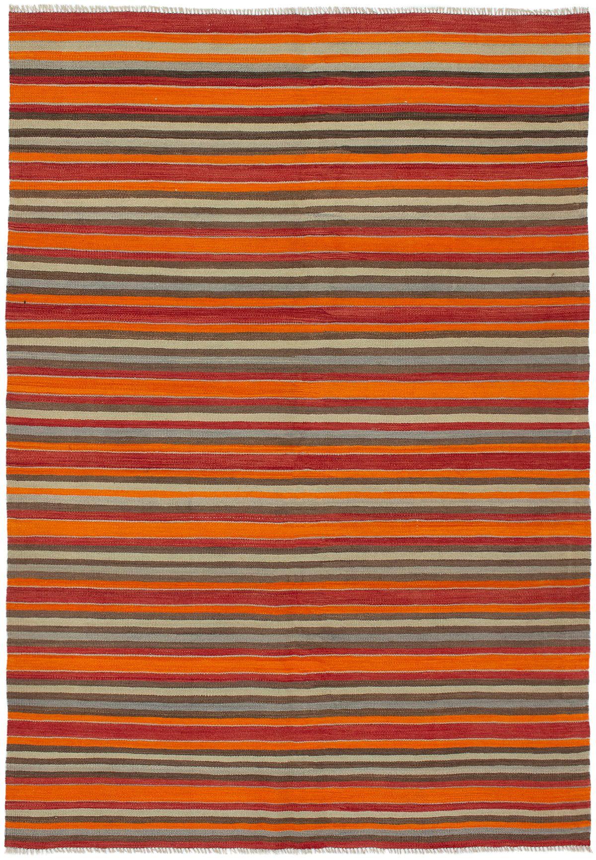 "Hand woven Bohemian Orange Wool Kilim 6'0"" x 8'7"" Size: 6'0"" x 8'7"""