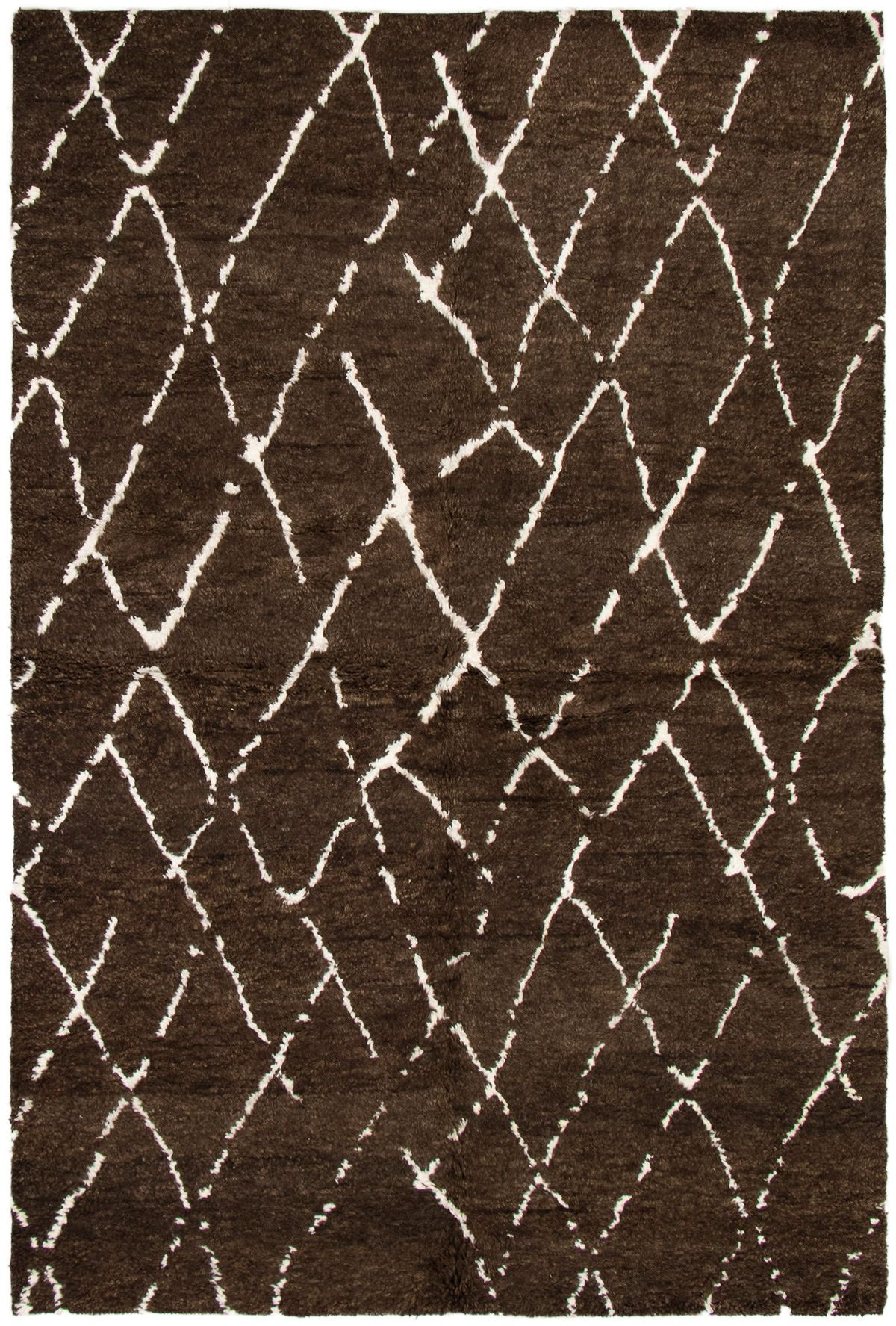 "Hand-knotted Arlequin Dark Brown Wool Rug 6'0"" x 9'0""  Size: 6'0"" x 9'0"""