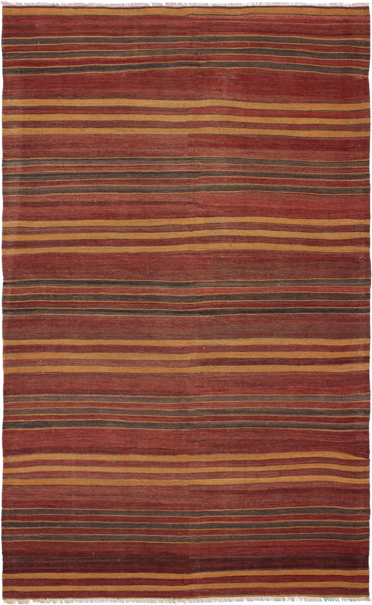 "Hand woven Bohemian Dark Red Wool Kilim 5'3"" x 8'11"" Size: 5'3"" x 8'11"""