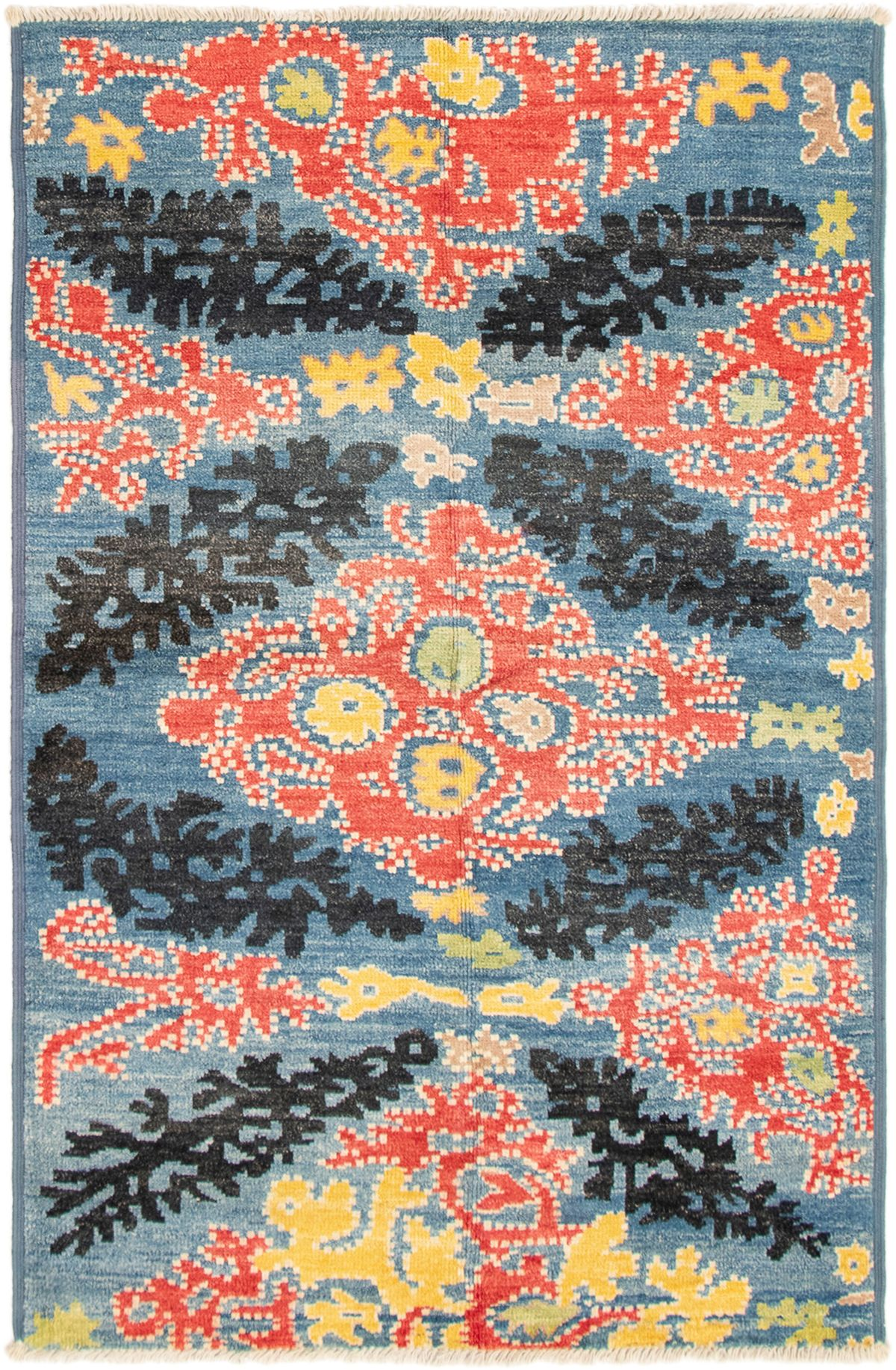 """Hand-knotted Shalimar Blue Wool Rug 5'1"""" x 8'0"""" Size: 5'1"""" x 8'0"""""""