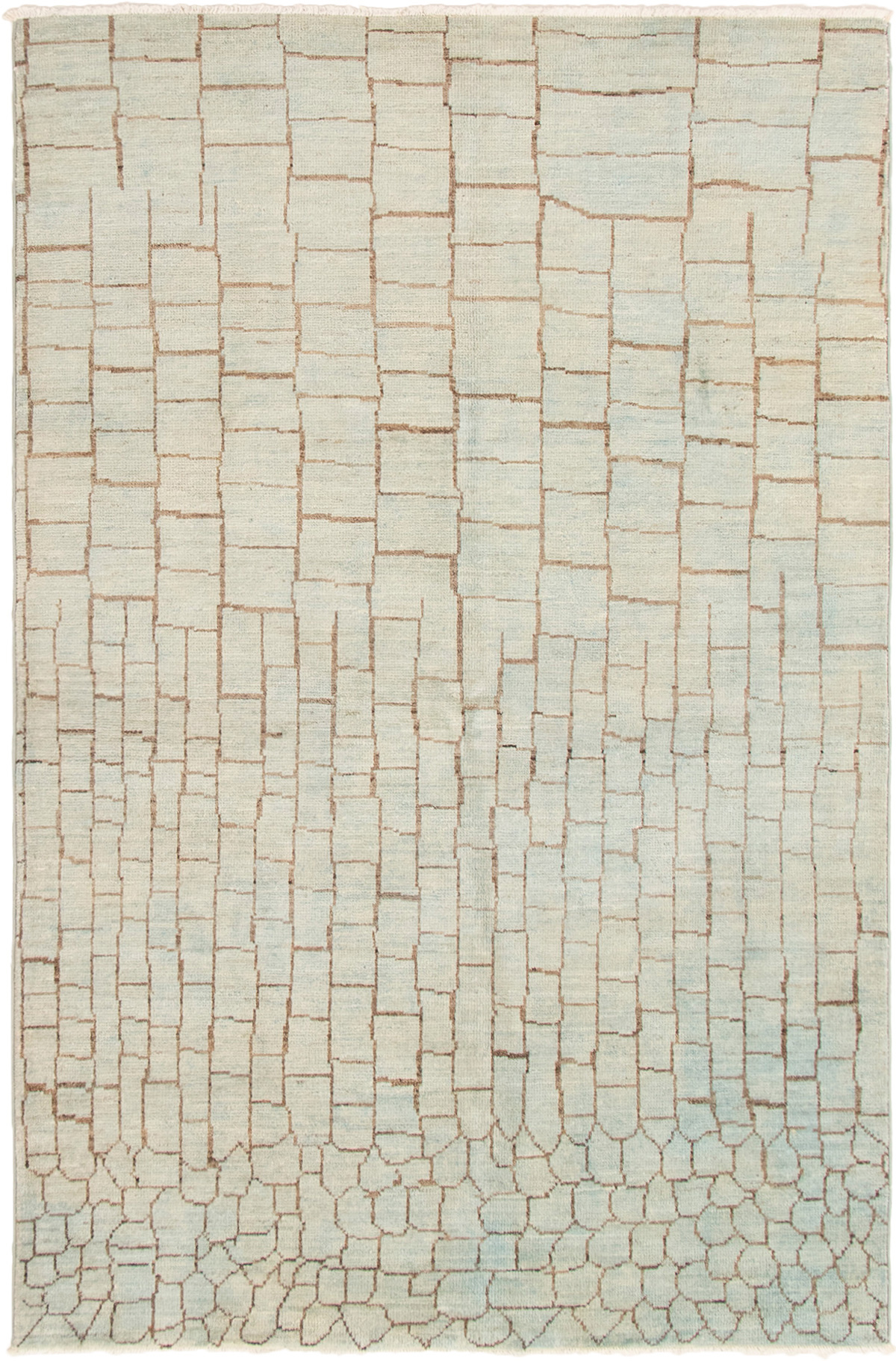 """Hand-knotted Tangier Light Blue  Wool Rug 5'9"""" x 8'9"""" Size: 5'9"""" x 8'9"""""""