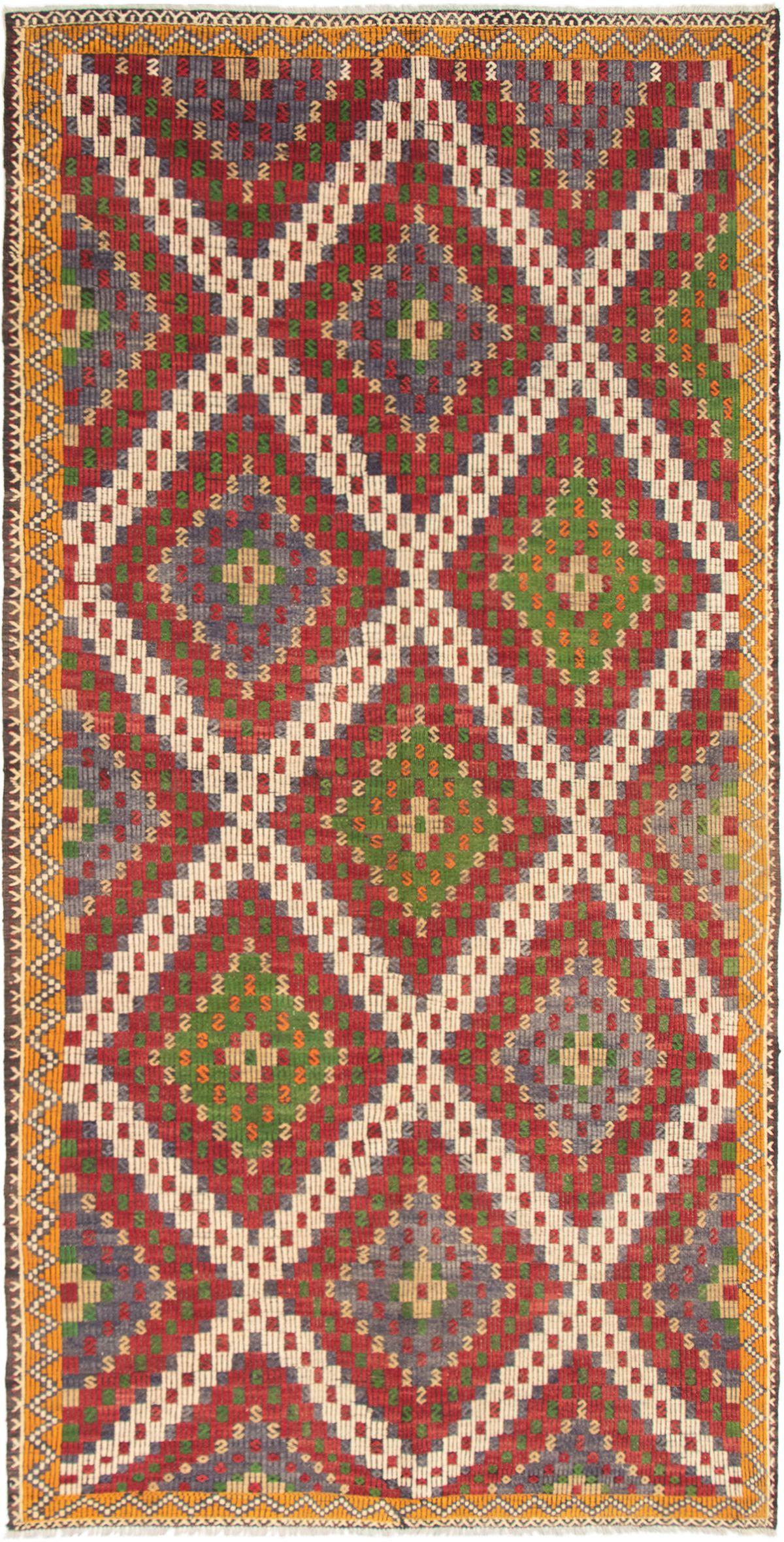 """Hand woven Yoruk Cream, Dark Red Wool Tapestry Kilim 5'8"""" x 11'5"""" Size: 5'8"""" x 11'5"""""""