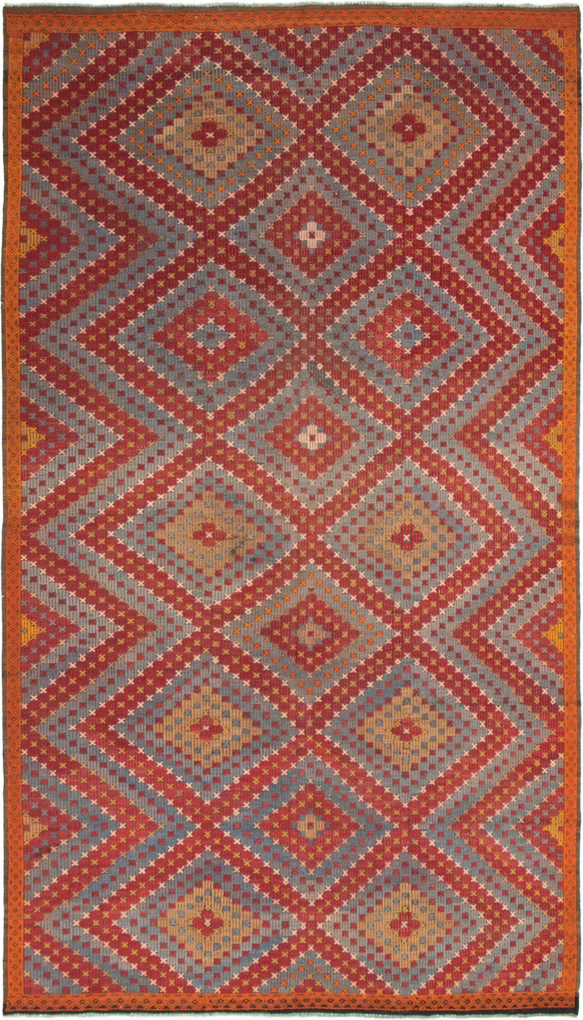 "Hand woven Yoruk Dark Red Wool Tapestry Kilim 6'3"" x 11'2"" Size: 6'3"" x 11'2"""