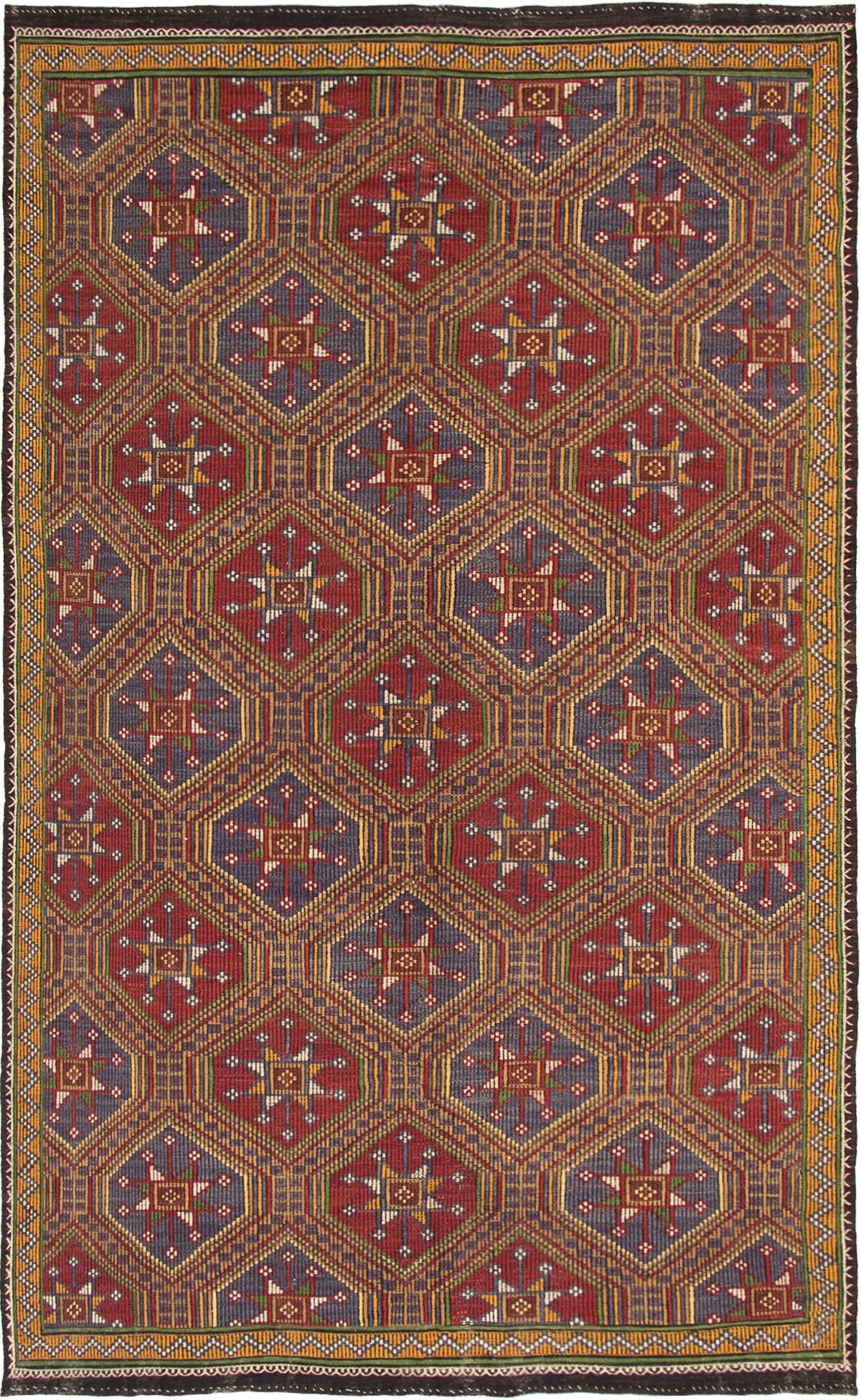 "Hand woven Yoruk Dark Red, Tan Wool Tapestry Kilim 7'5"" x 12'3"" Size: 7'5"" x 12'3"""