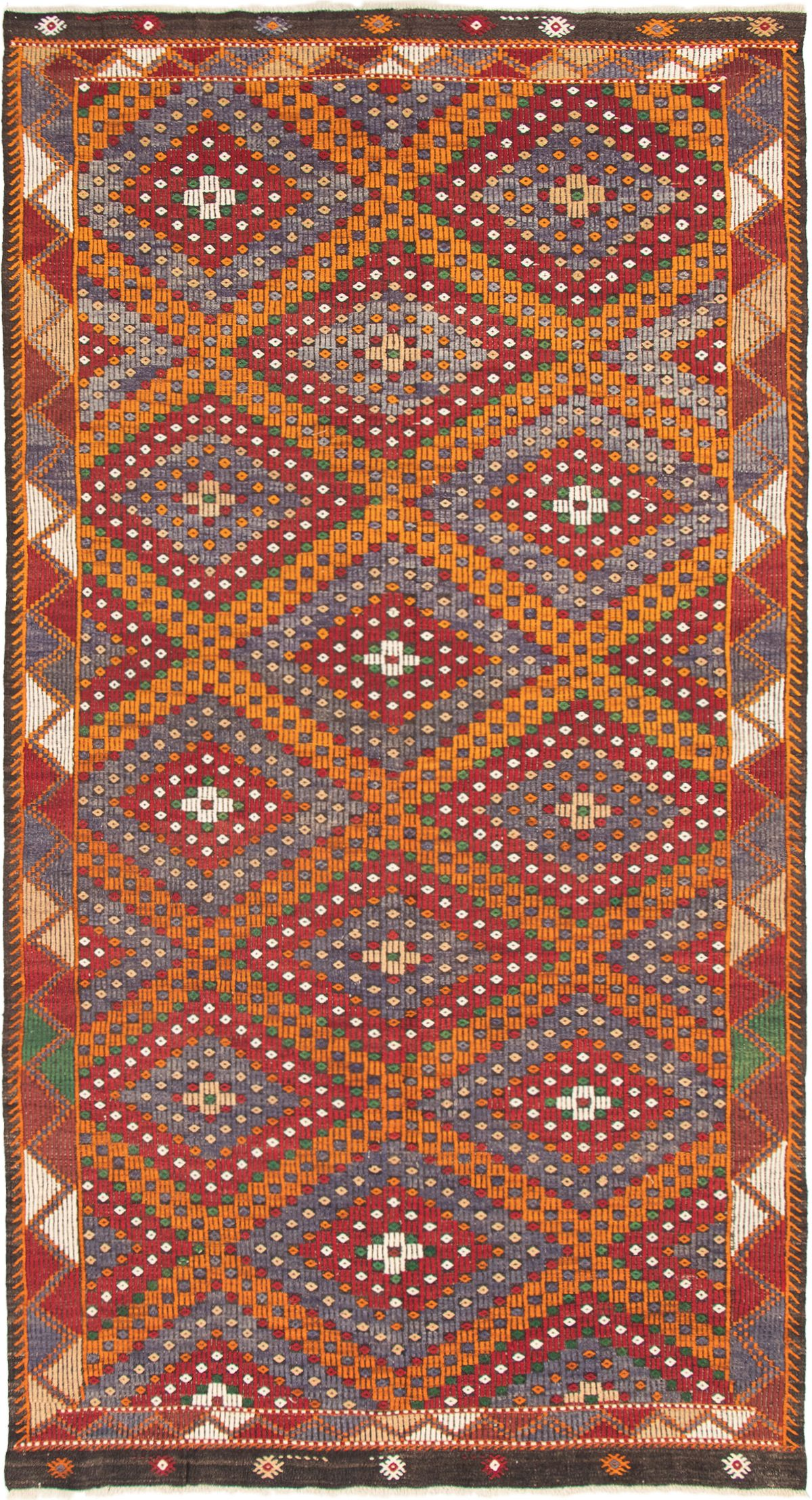 "Hand woven Yoruk Dark Red, Orange Wool Tapestry Kilim 6'1"" x 11'7"" Size: 6'1"" x 11'7"""