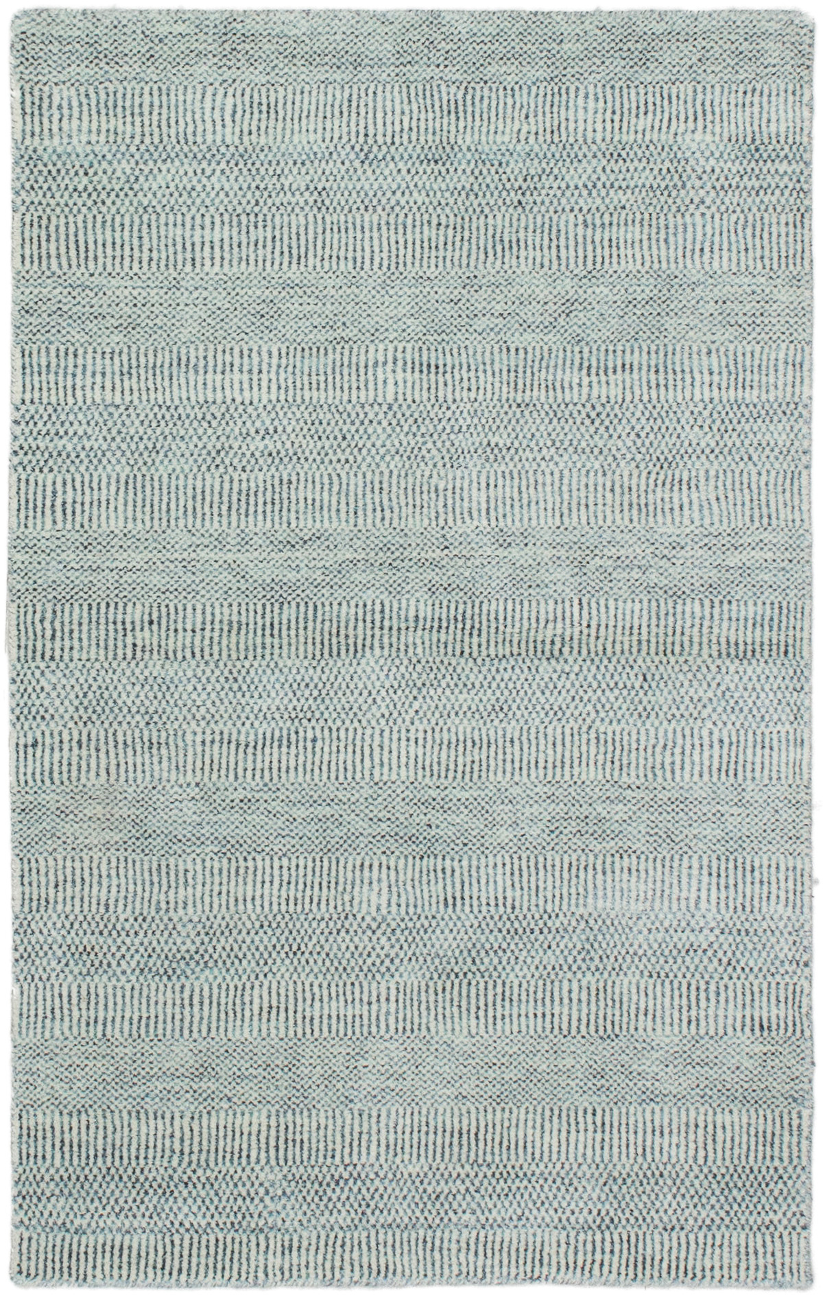 """Hand-knotted Pearl Light Denim Blue  Rug 3'0"""" x 5'0"""" Size: 3'0"""" x 5'0"""""""