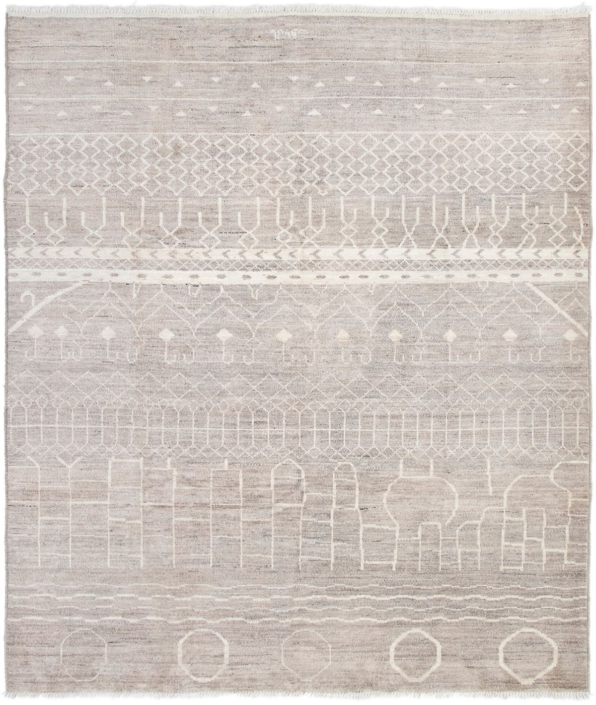 """Hand-knotted Tangier Grey Wool Rug 8'5"""" x 9'10"""" Size: 8'5"""" x 9'10"""""""