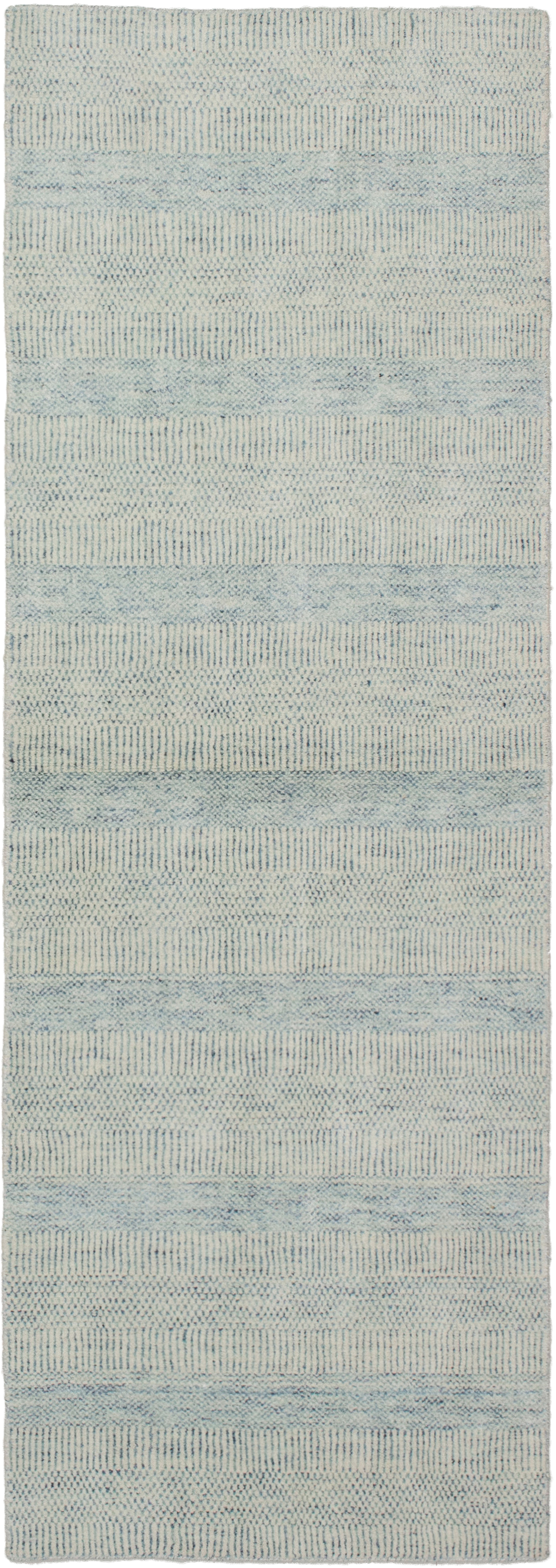 """Hand-knotted Pearl Cream, Light Blue   Rug 2'7"""" x 8'2"""" Size: 2'7"""" x 8'2"""""""