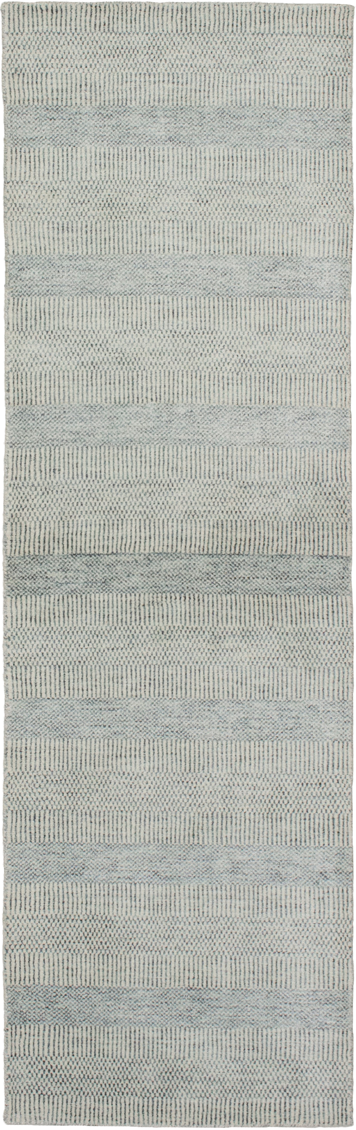 """Hand-knotted Pearl Cream, Grey  Rug 2'5"""" x 8'4"""" Size: 2'5"""" x 8'4"""""""