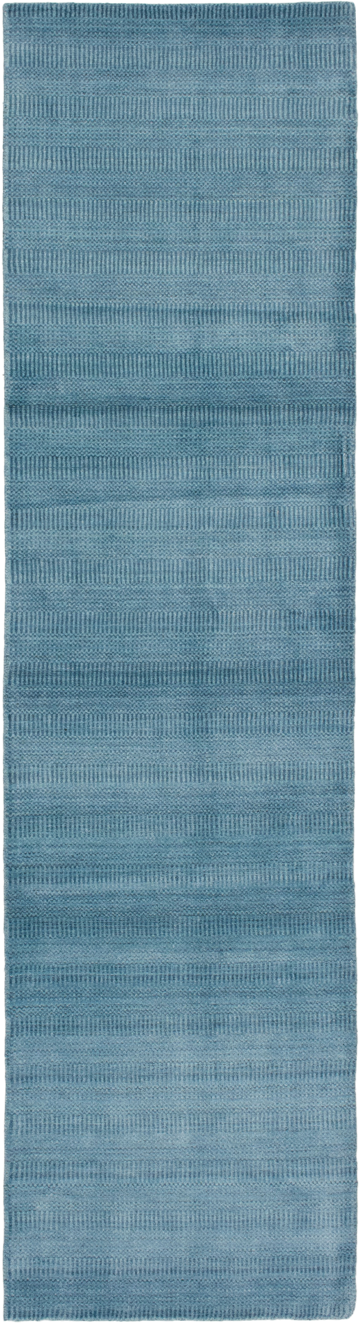 """Hand-knotted Pearl Denim Blue  Rug 2'6"""" x 9'11"""" Size: 2'6"""" x 9'11"""""""