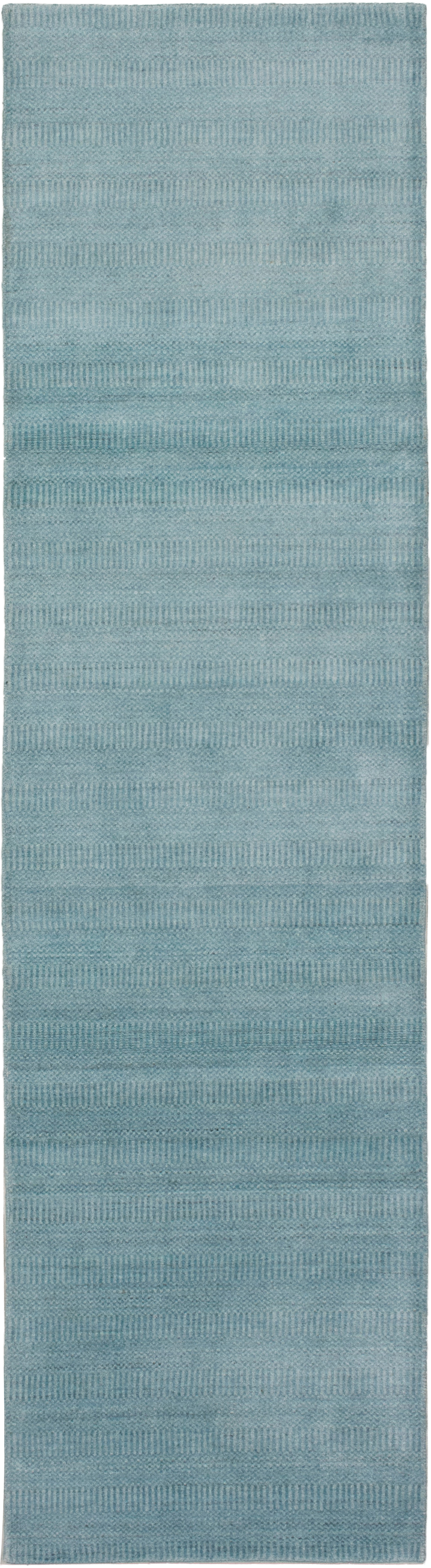 """Hand-knotted Pearl Sky Blue  Rug 2'6"""" x 10'0"""" Size: 2'6"""" x 10'0"""""""