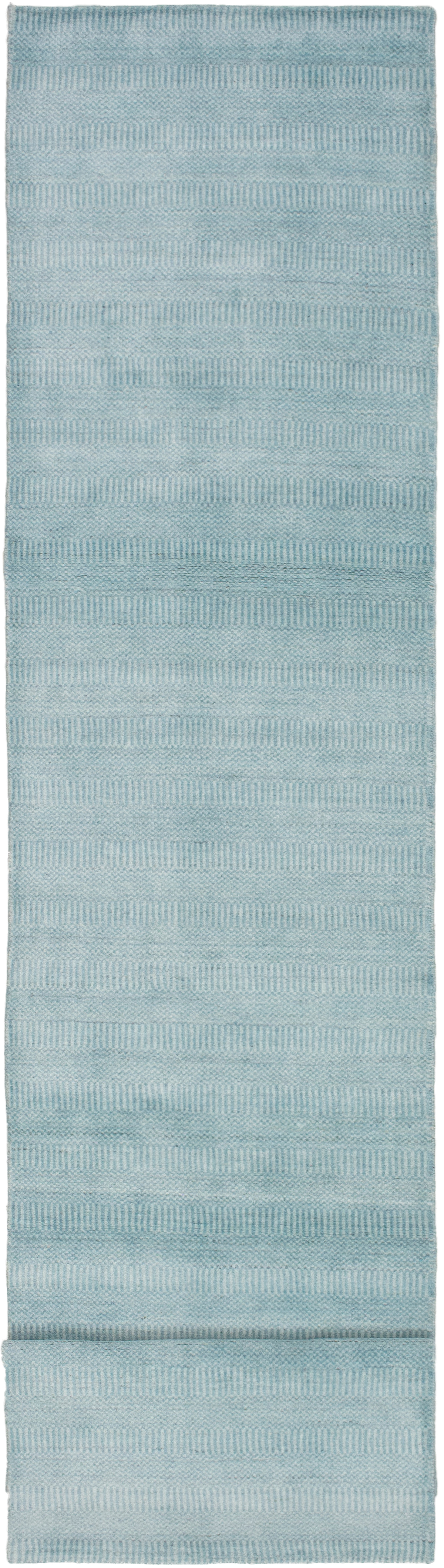 """Hand-knotted Pearl Sky Blue  Rug 2'6"""" x 11'10"""" Size: 2'6"""" x 11'10"""""""