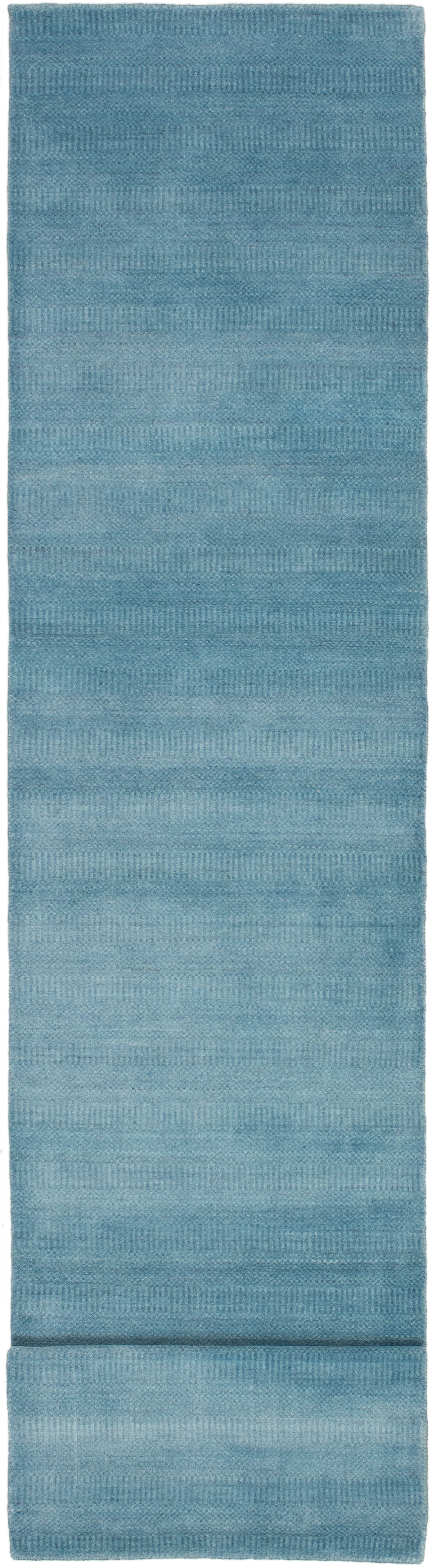 """Hand-knotted Pearl Denim Blue  Rug 2'6"""" x 12'0"""" Size: 2'6"""" x 12'0"""""""