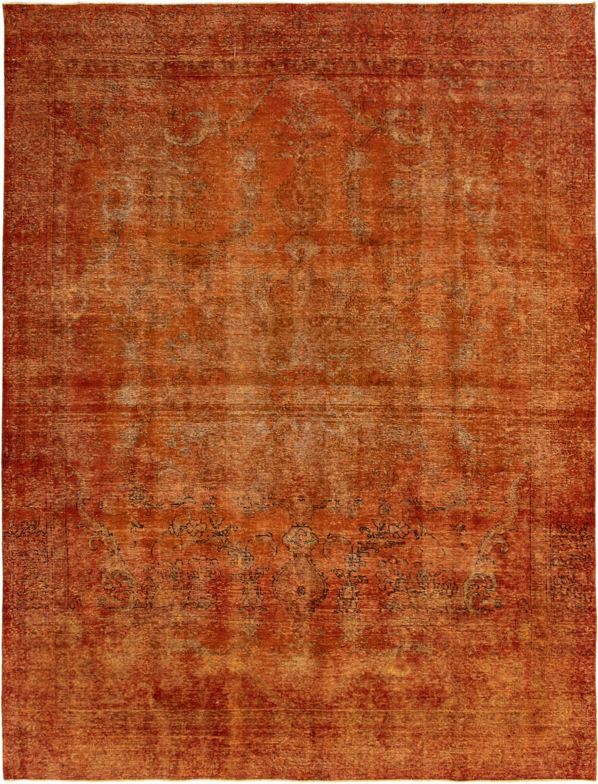 """Hand-knotted Color Transition Burnt Orange Wool Rug 9'1"""" x 12'0"""" Size: 9'1"""" x 12'0"""""""