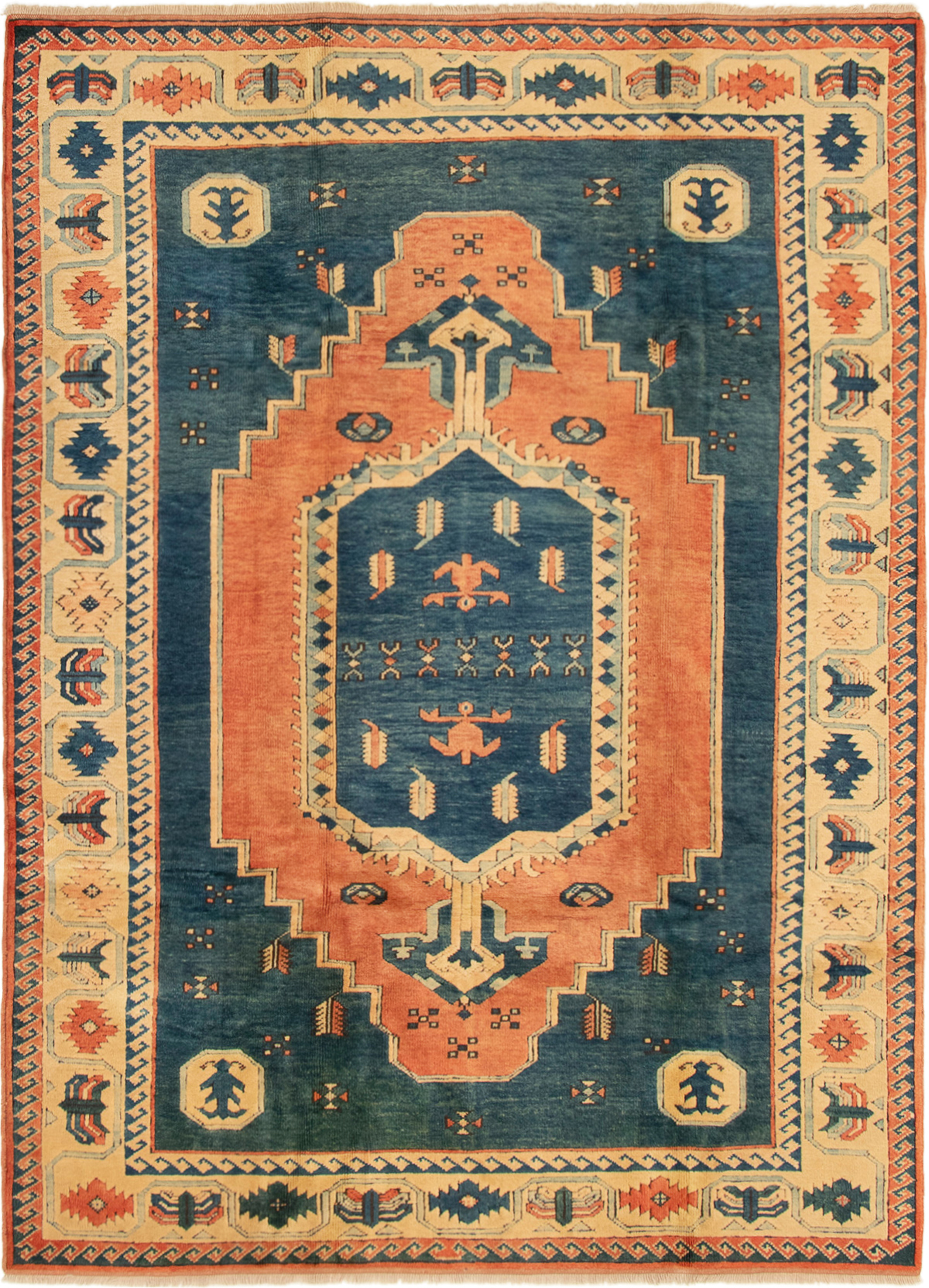 "Hand-knotted Antique Shiravan Dark Copper, Navy Blue Wool Rug 6'6"" x 8'10"" Size: 6'6"" x 8'10"""