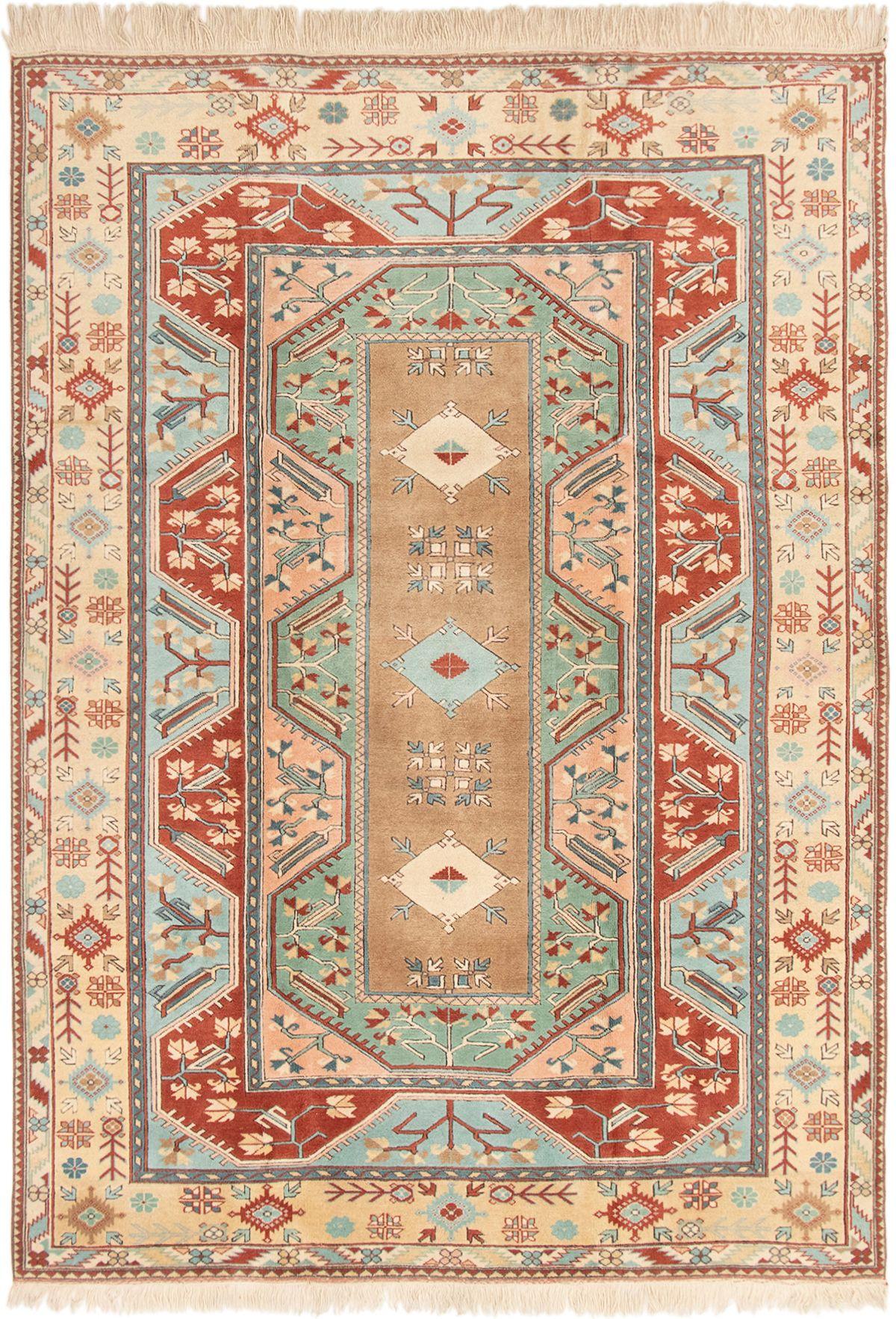 "Hand-knotted Ushak Dark Copper, Light Blue  Wool Rug 7'1"" x 9'11"" Size: 7'1"" x 9'11"""