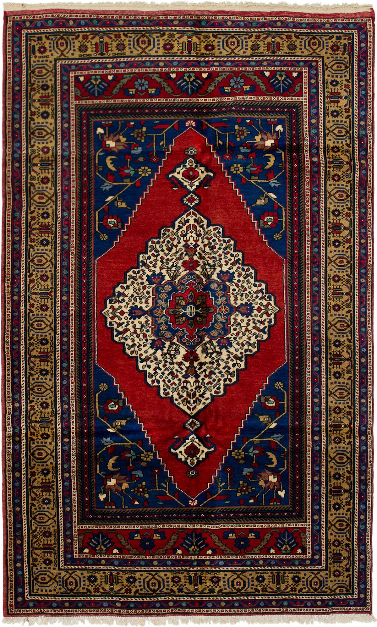 """Hand-knotted Anatolian Vintage Blue, Dark Copper Wool Rug 5'3"""" x 8'8"""" Size: 5'3"""" x 8'8"""""""