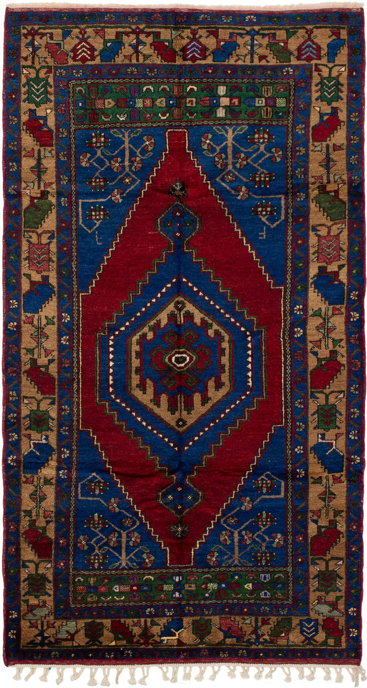 """Hand-knotted Anatolian Vintage Dark Blue, Red Wool Rug 5'1"""" x 9'5"""" Size: 5'1"""" x 9'5"""""""