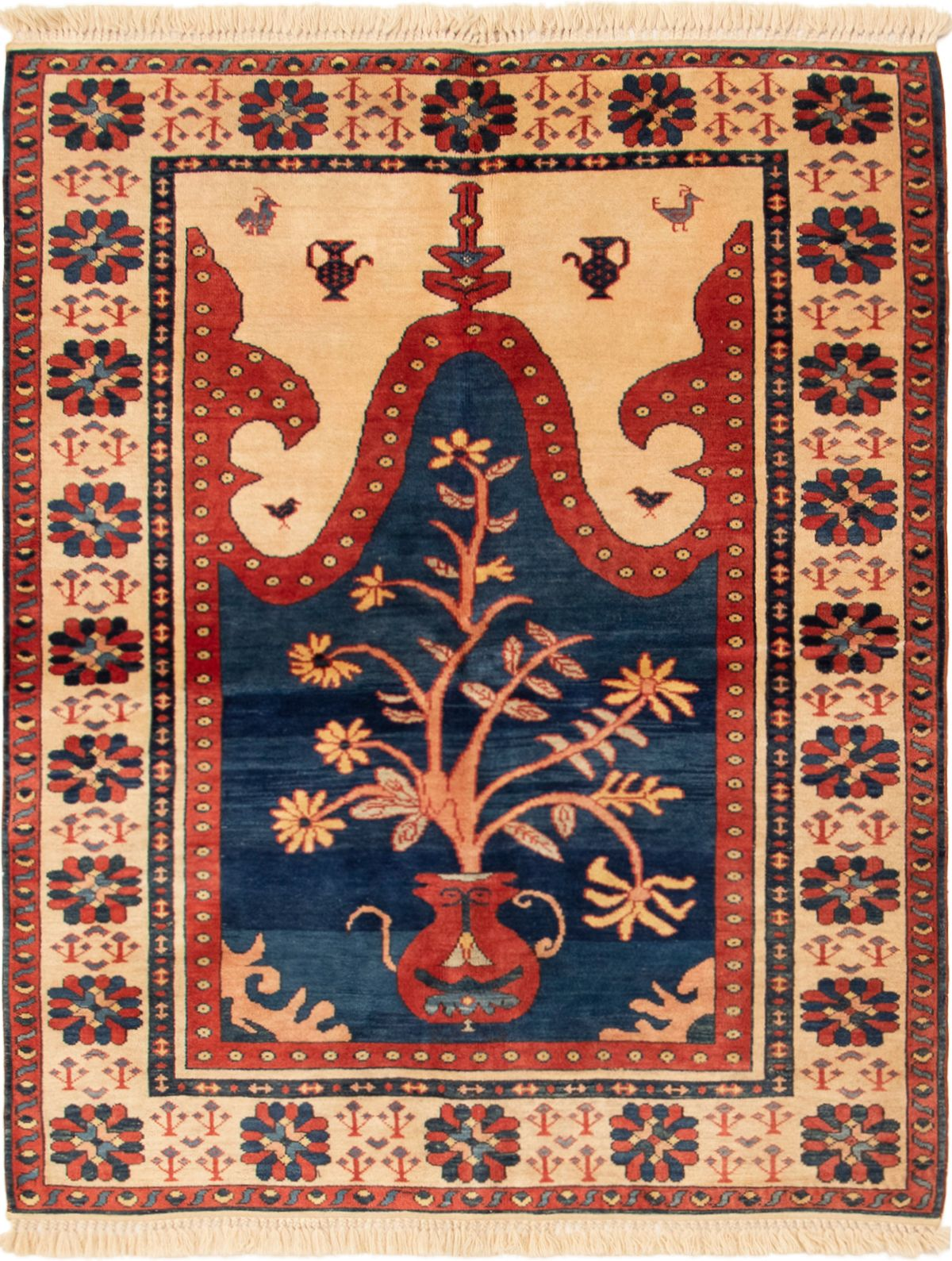 """Hand-knotted Anatolian Vintage Navy Blue Wool Rug 5'3"""" x 6'8"""" Size: 5'3"""" x 6'8"""""""