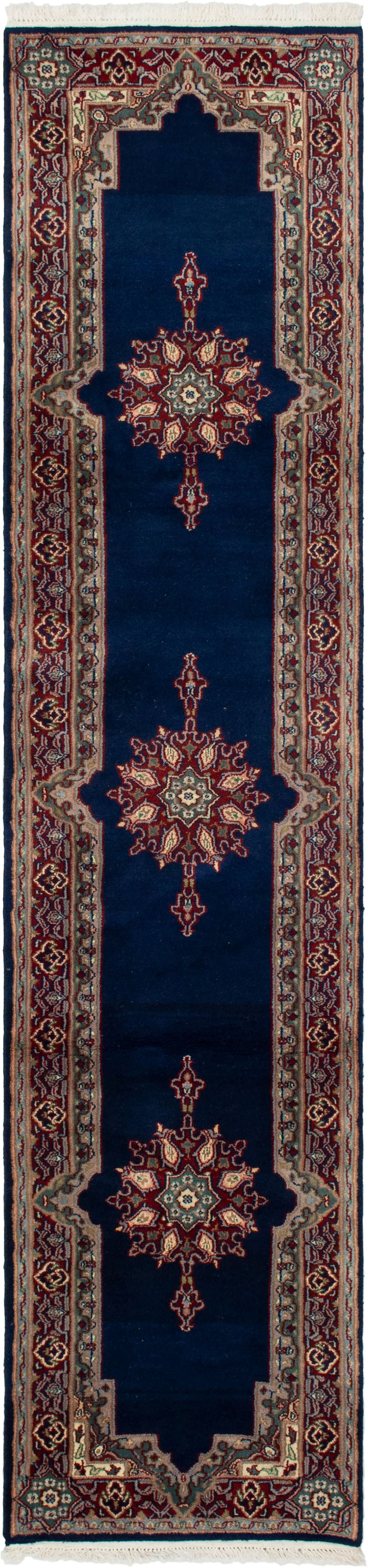 """Hand-knotted Hereke Navy Blue Wool Rug 2'4"""" x 10'2"""" Size: 2'4"""" x 10'2"""""""