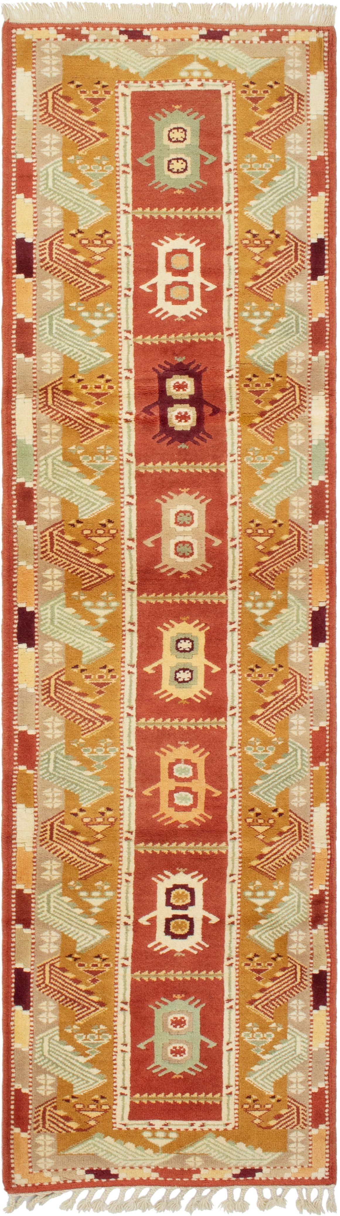 "Hand-knotted Ushak Dark Copper Wool Rug 2'5"" x 9'1"" Size: 2'5"" x 9'1"""