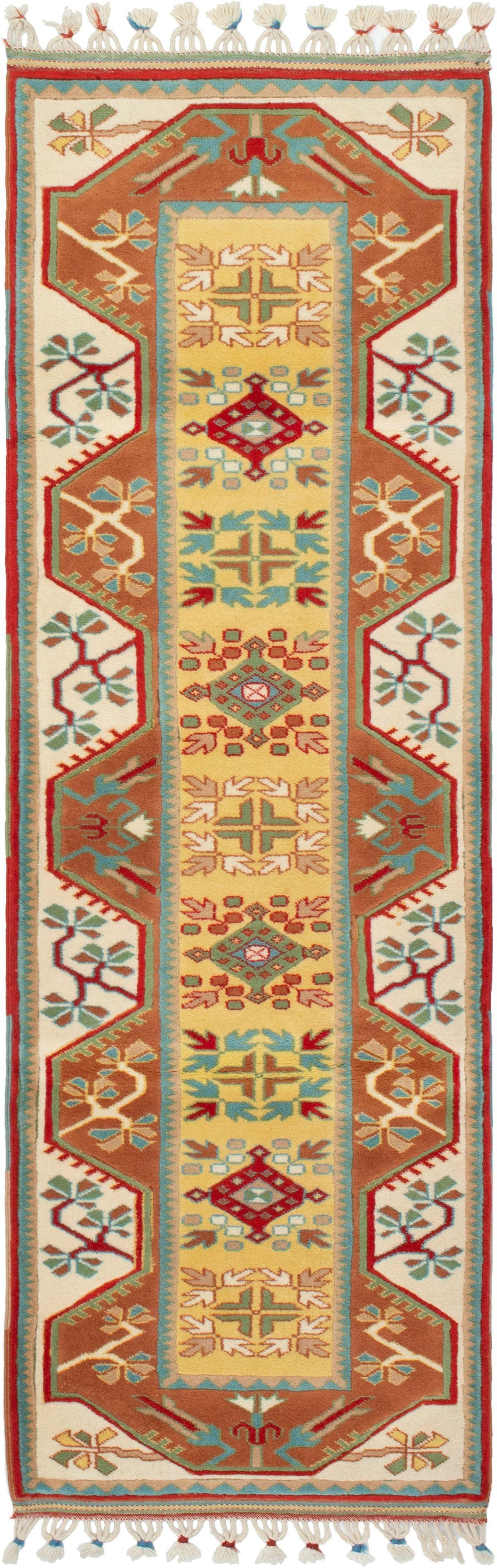 """Hand-knotted Ushak Copper, Khaki Wool Rug 2'8"""" x 8'1"""" Size: 2'7"""" x 8'1"""""""