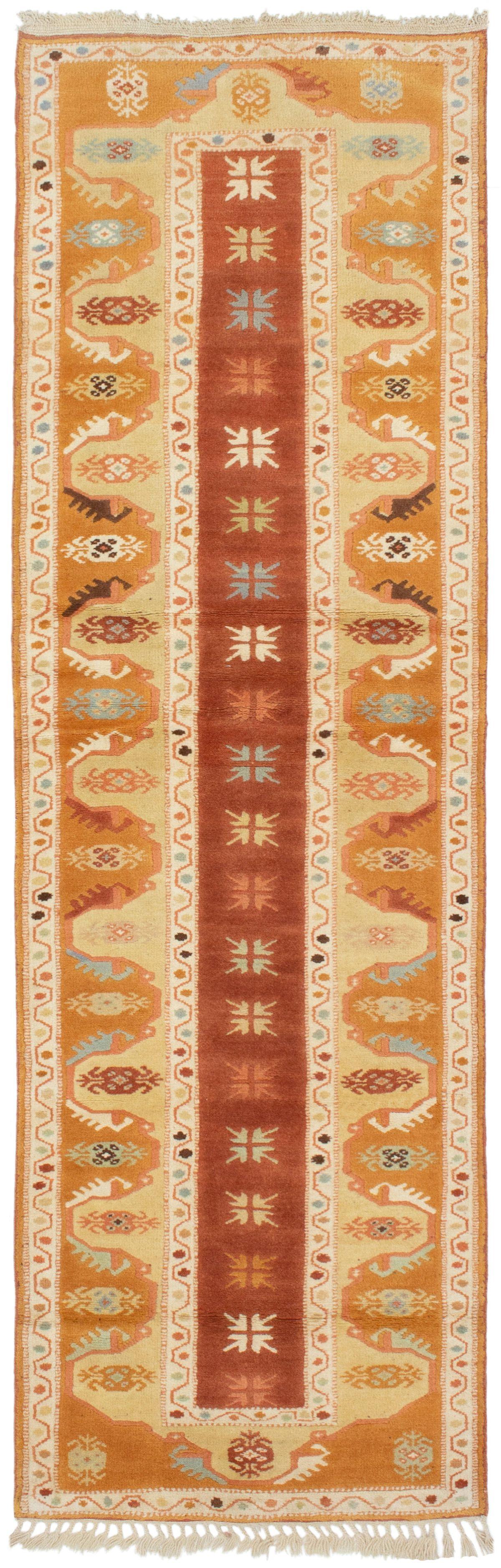 "Hand-knotted Ushak Burnt Orange, Dark Copper Wool Rug 2'8"" x 8'9"" Size: 2'8"" x 8'9"""
